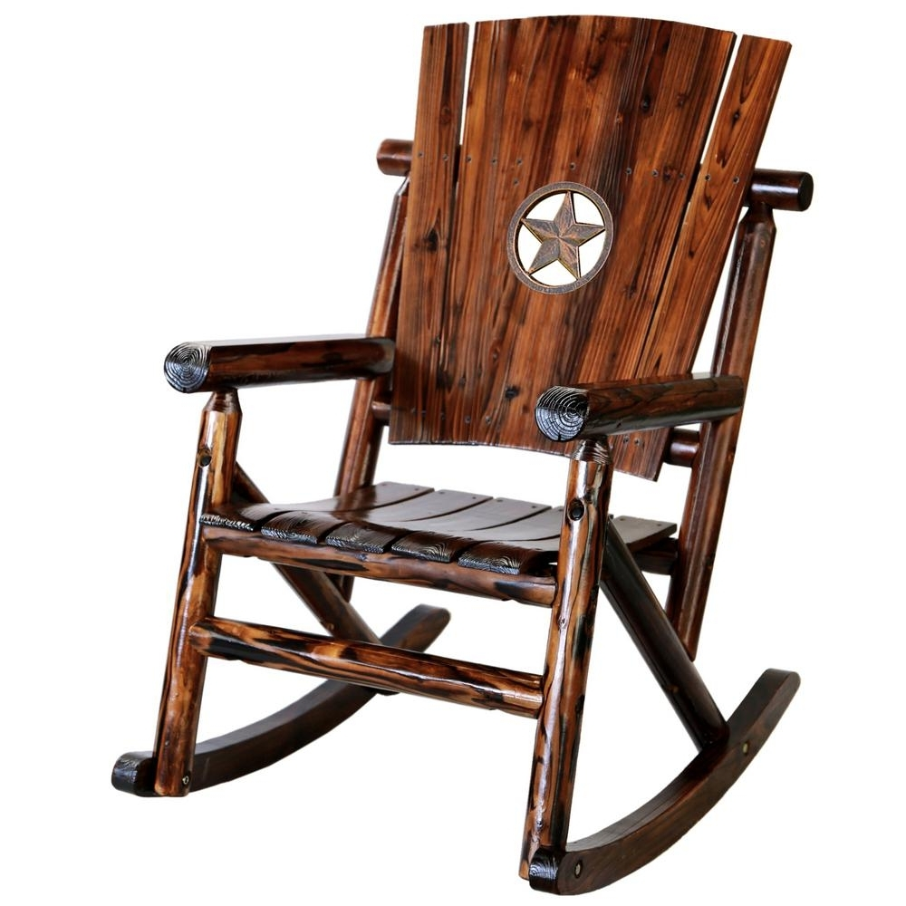 Char Log Patio Rocking Chairs With Star Regarding Widely Used Leigh Country Char Log Wood Patio Rocking Chair With Star Medallion (View 2 of 20)