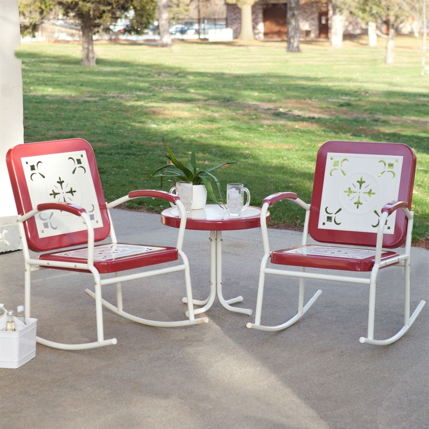 Cherry Red Retro Patio 3 Pc Metal Rocker Rocking Chair Set Within 3 For 2019 Retro Outdoor Rocking Chairs (View 4 of 20)