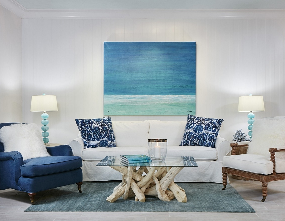 Coastal Living Room Table Lamps In Trendy Living Room : White Fabric Sofa Blue Throw Pillow Blue Fabric (View 17 of 20)