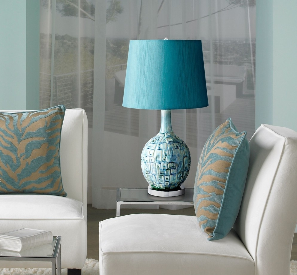 Contemporary Table Lamps Living Room With Aqua Lamp For Amazing In Trendy Teal Living Room Table Lamps (View 8 of 20)