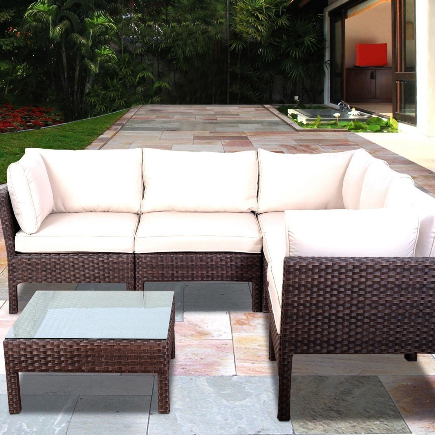 Conversation Patio Sets With Outdoor Sectionals In Widely Used Atlantic Infinity 5 Person Resin Wicker Patio Sectional Set (View 6 of 20)