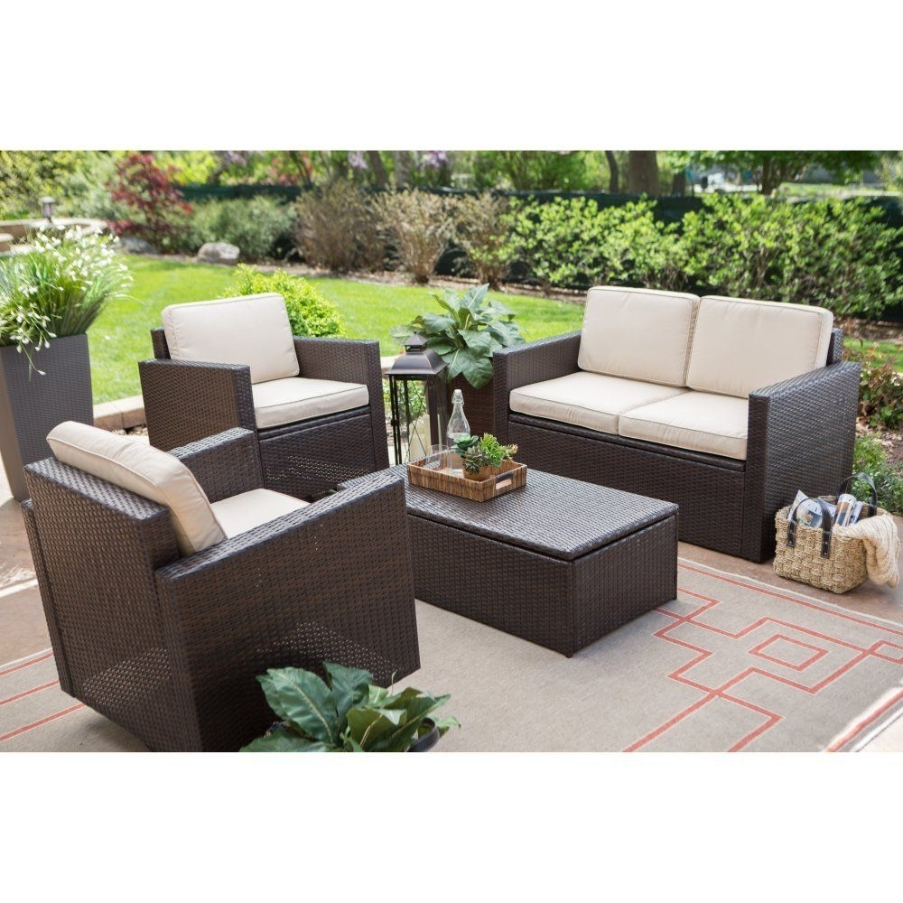 Coral Coast Berea Wicker 4 Piece Conversation Set With Storage Intended For Well Known Patio Conversation Sets With Storage (View 15 of 20)