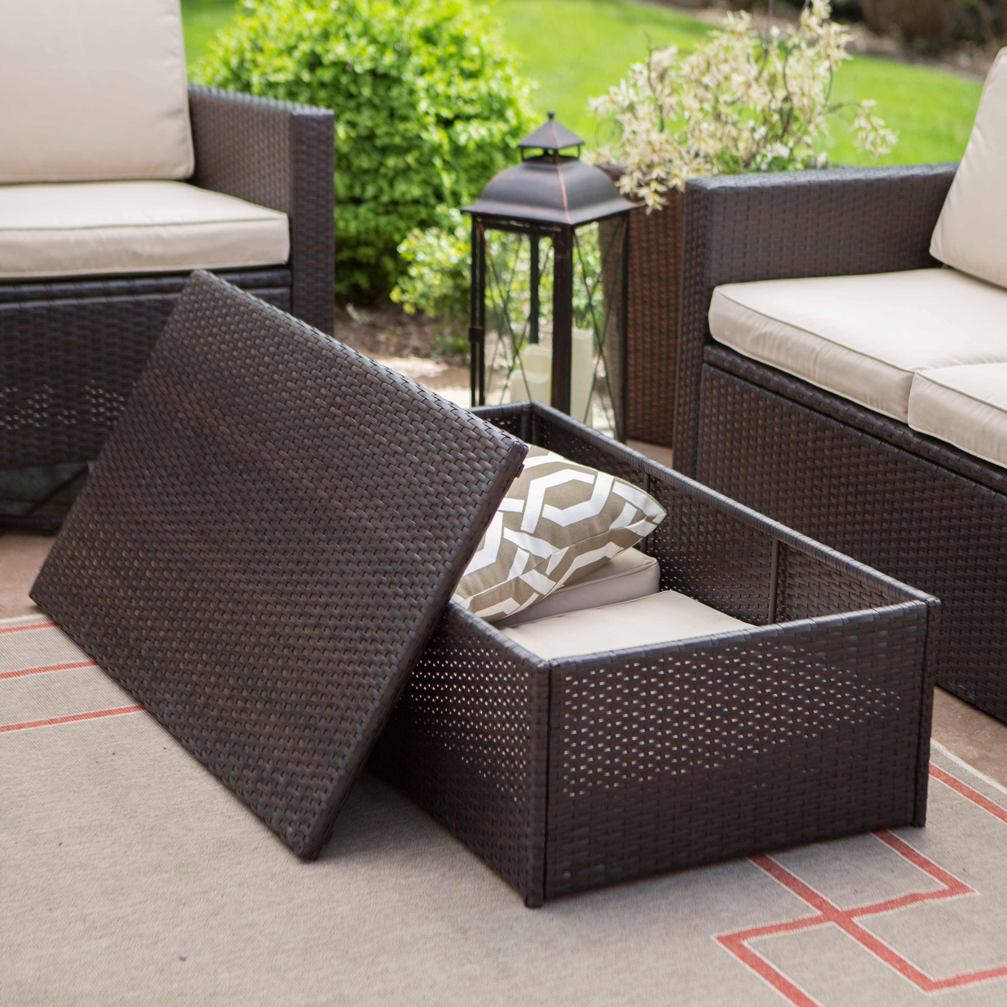 Coral Coast Berea Wicker Piece Conversation Set With Storage Patio Pertaining To Most Recently Released Patio Conversation Sets With Storage (View 3 of 20)