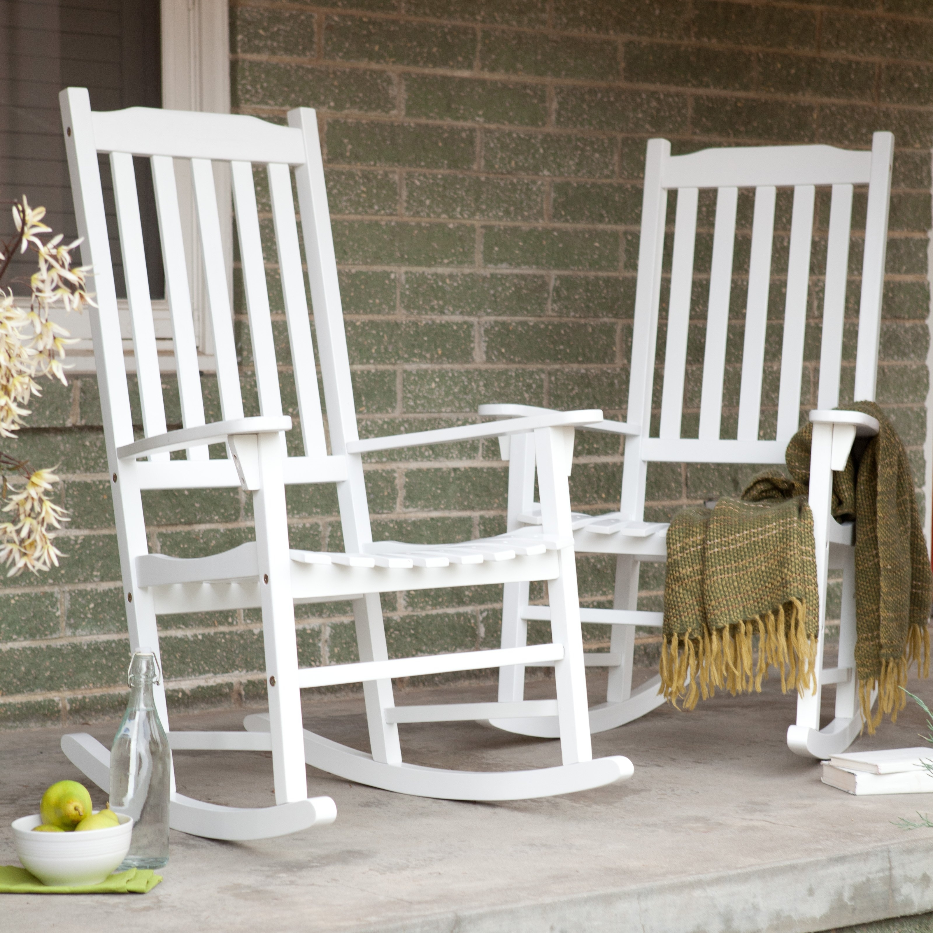 Coral Coast Indoor/outdoor Mission Slat Rocking Chairs – White – Set Intended For Well Known Outside Rocking Chair Sets (View 11 of 20)