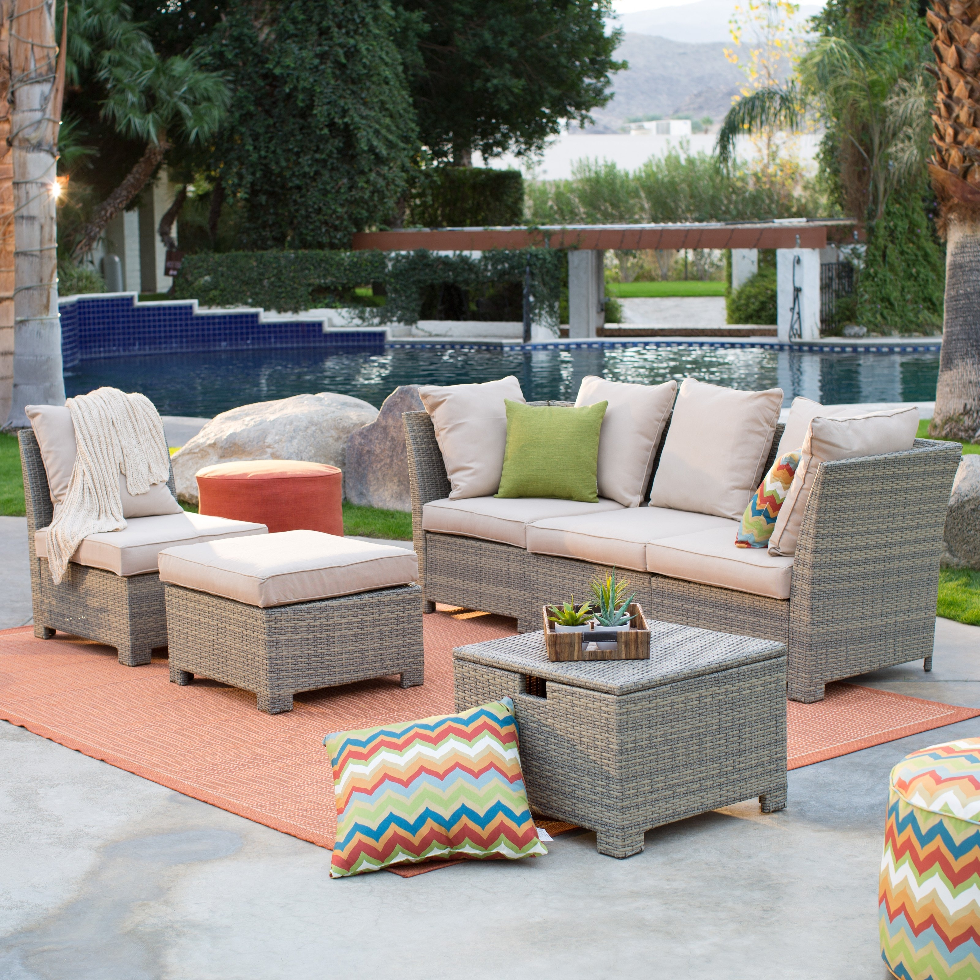 Coral Coast South Isle All Weather Wicker Natural Outdoor Pertaining To Well Known Patio Sectional Conversation Sets (View 5 of 20)