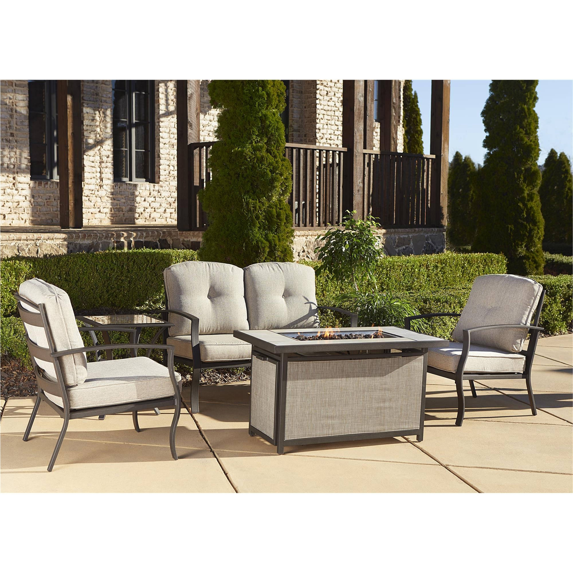 Cosco Outdoor 5 Piece Serene Ridge Aluminum Patio Furniture For Current Patio Furniture Conversation Sets With Fire Pit (View 19 of 20)