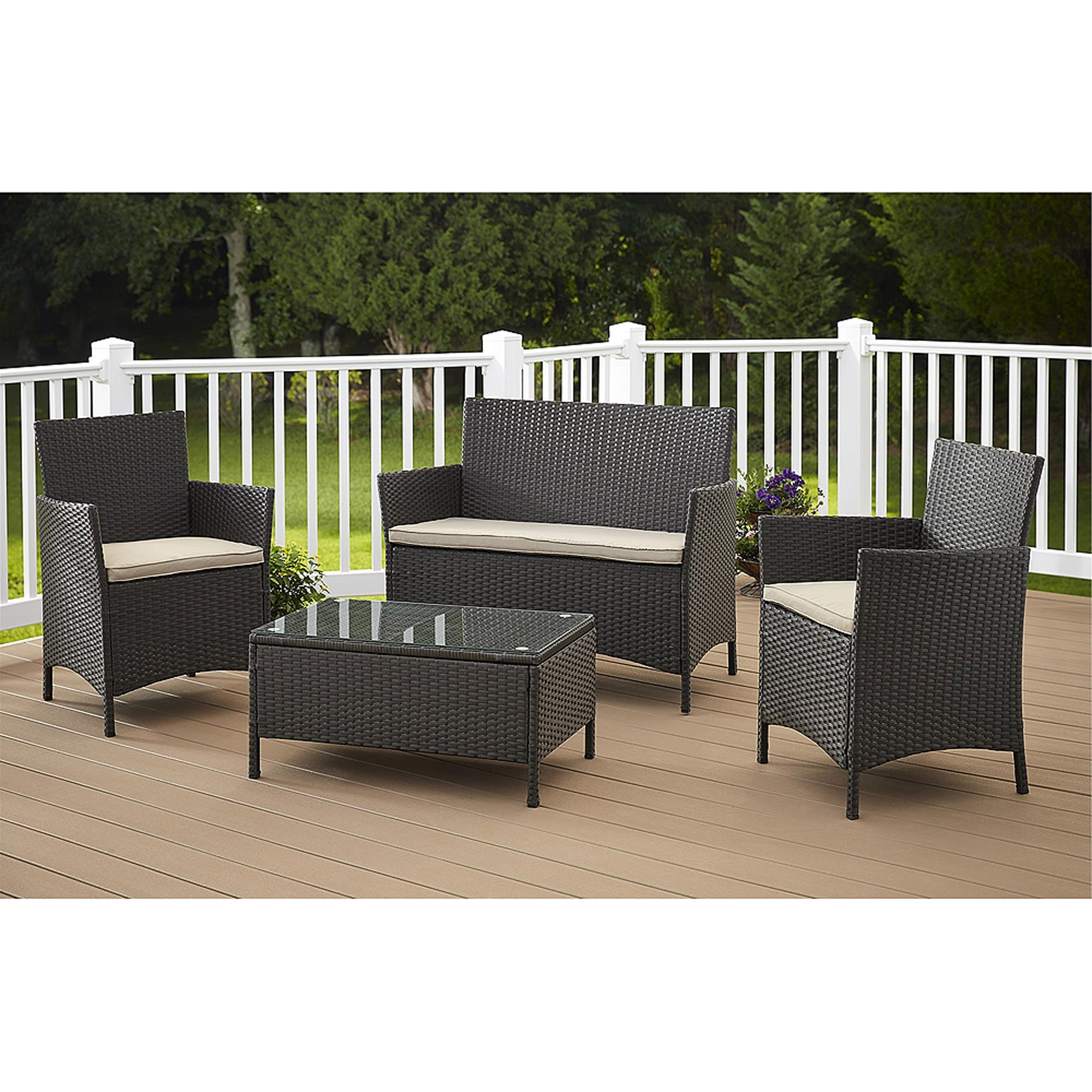 Cosco Outdoor Furniture Jamaica 4 Piece Resin Wicker Patio Furniture Intended For Most Current Wicker 4Pc Patio Conversation Sets With Navy Cushions (View 2 of 20)
