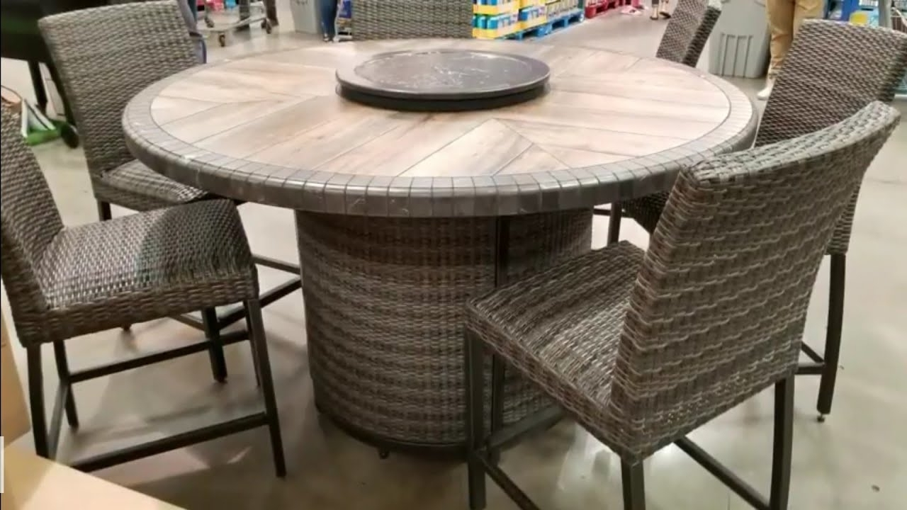Costco Patio Conversation Sets With 2019 Costco! Agio 7 Pc High Dinning Set With Fire Table! $1299!!! – Youtube (View 15 of 20)