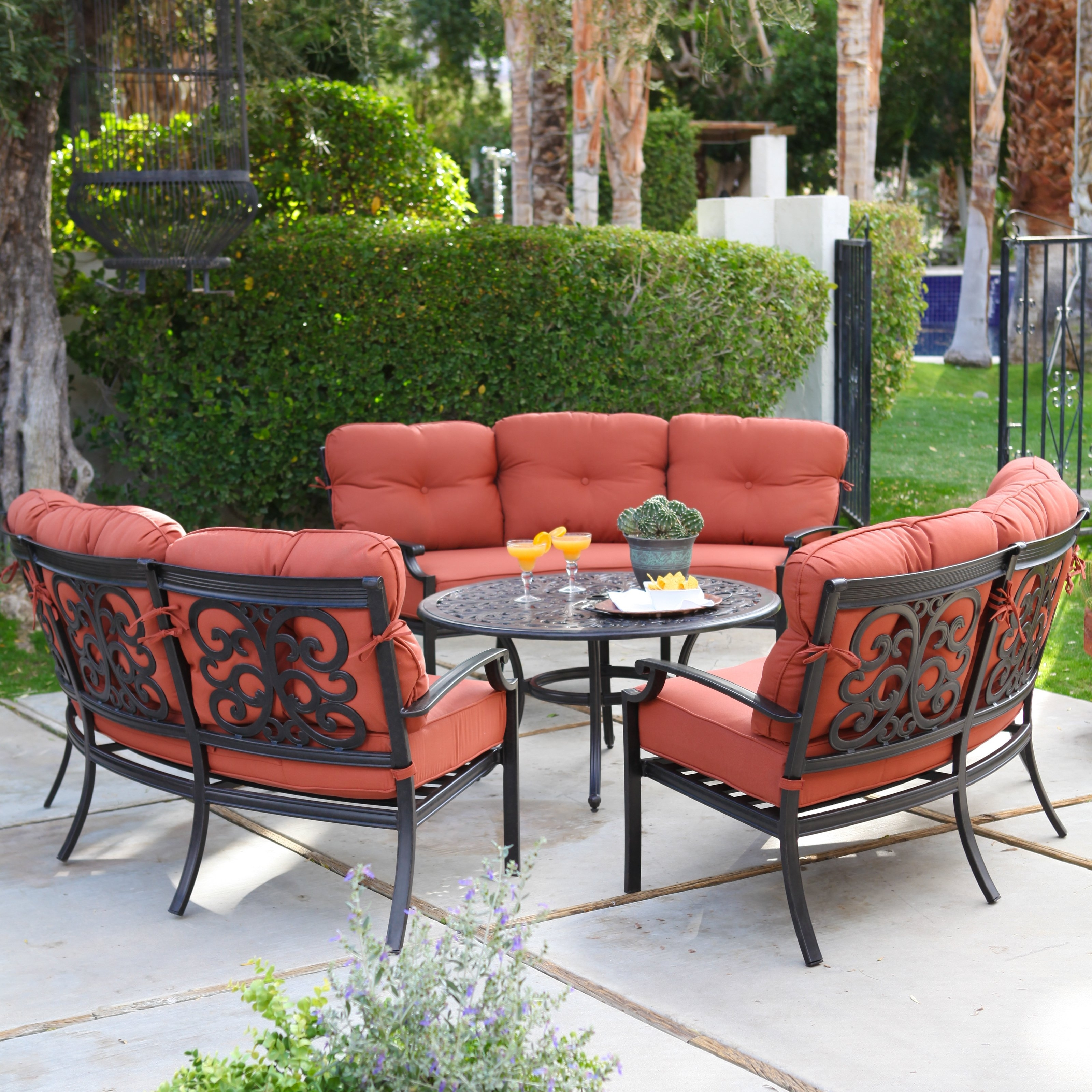Current Aluminum Patio Conversation Sets With Regard To Belham Living San Miguel Cast Aluminum Sofa Conversation Set  Seat  (View 7 of 20)
