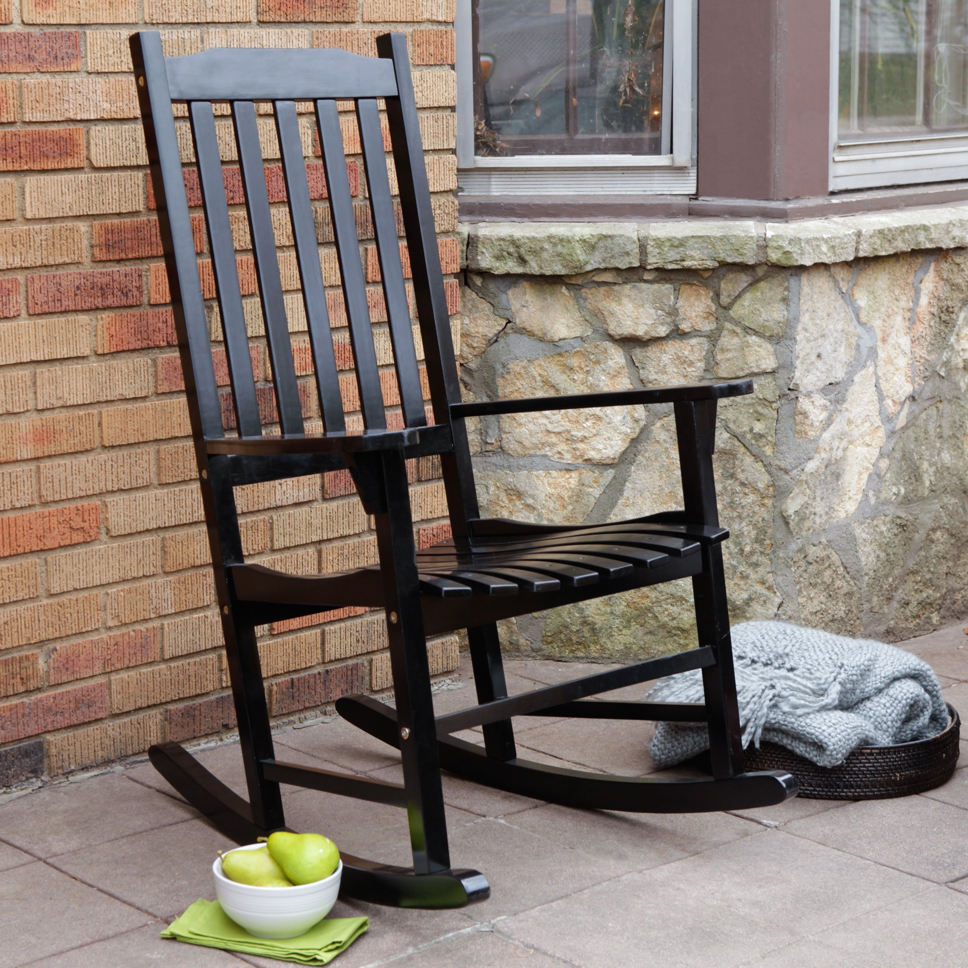 Current Black Patio Rocking Chairs In Patio Garden Outdoor Interiors Resin Wicker And Eucalyptus Rocking (View 5 of 20)