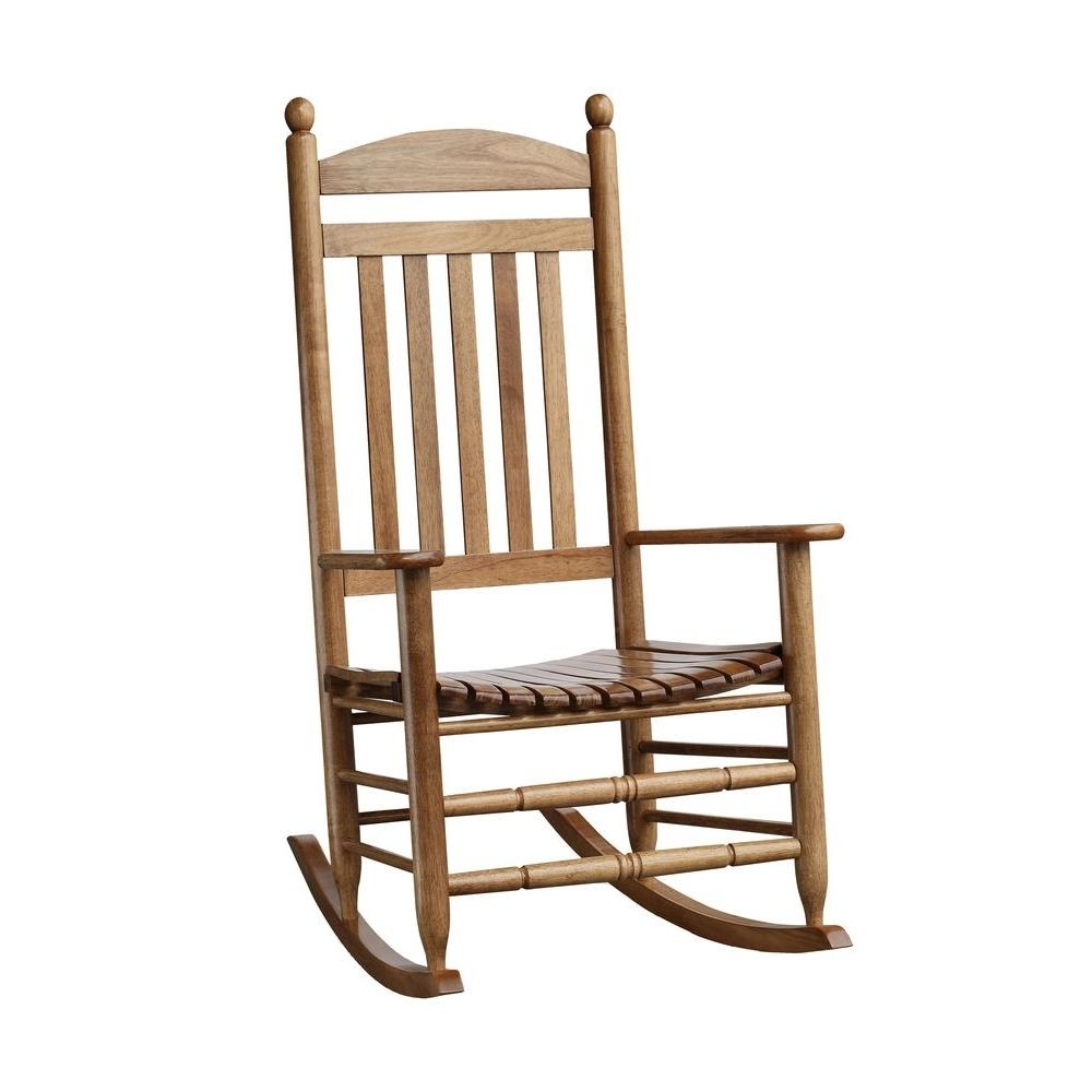 Current Bradley Maple Slat Patio Rocking Chair 200sm Rta – The Home Depot With Regard To Rocking Chairs At Home Depot (View 2 of 20)