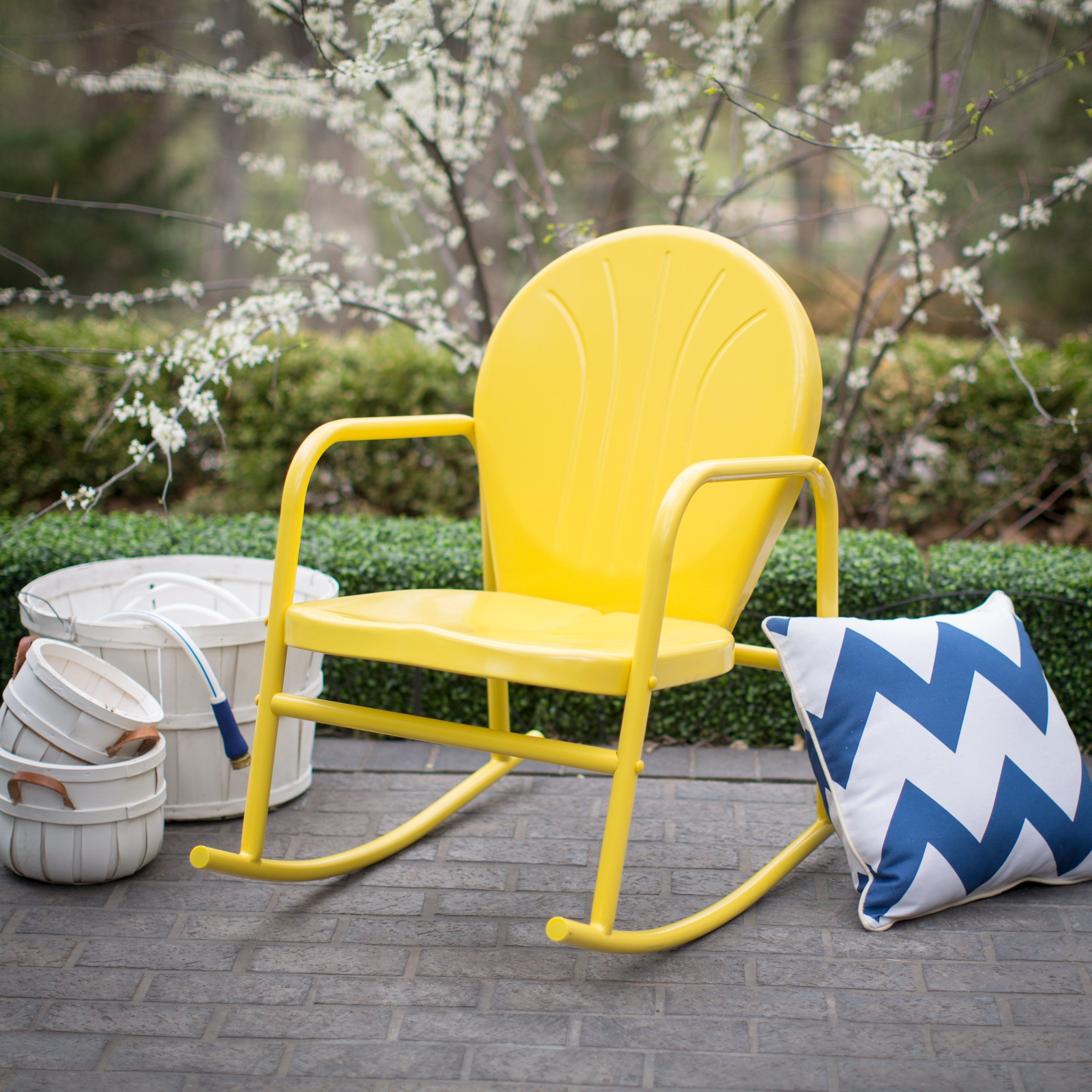Current Coral Coast Vintage Retro Steel Single Rocker – Outdoor Rocking With Regard To Vintage Outdoor Rocking Chairs (View 16 of 20)