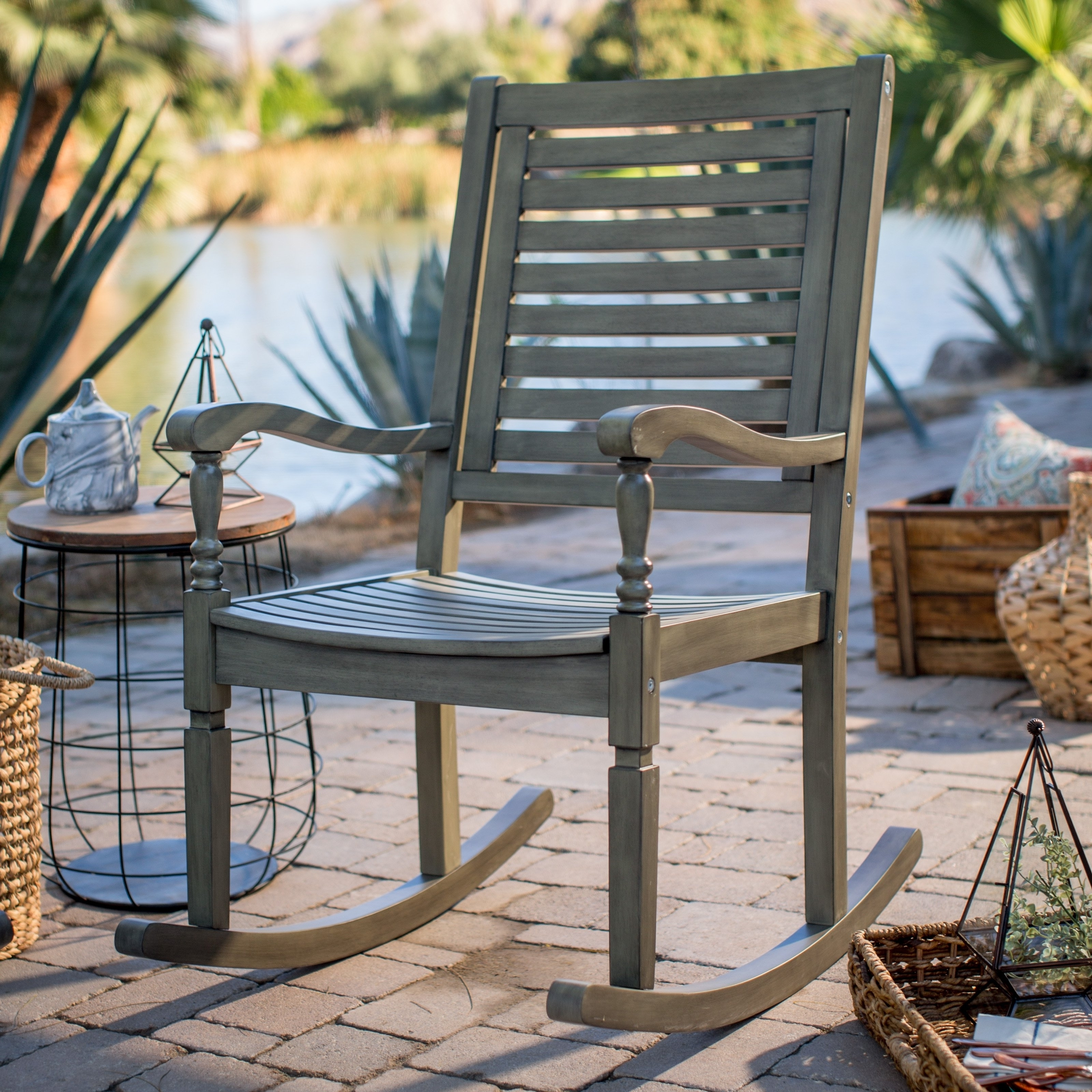 Current Inexpensive Patio Rocking Chairs Pertaining To Patio & Garden : Outdoor Rocking Chairs On Hayneedle Top Porch (View 3 of 20)