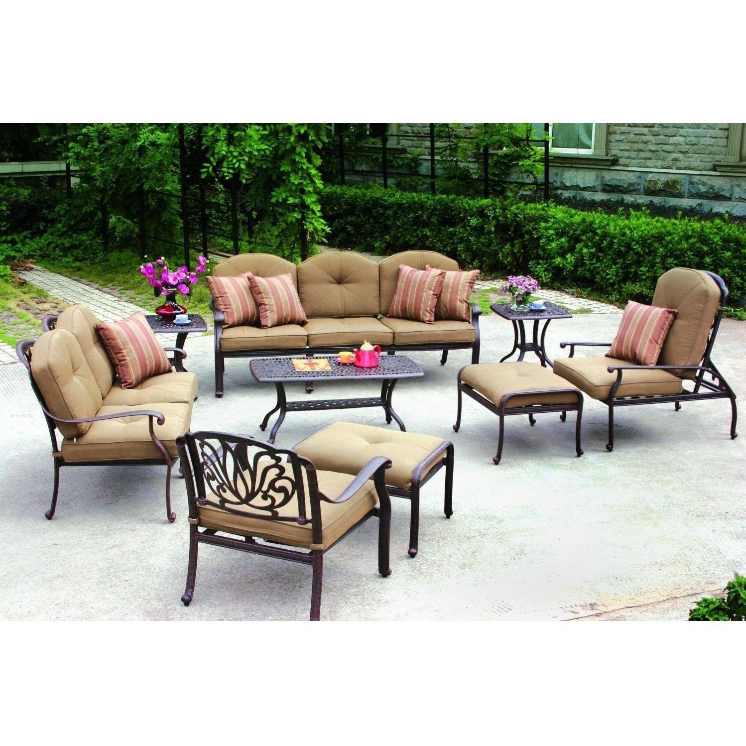 Current Outdoor : Best Deals On Patio Furniture Outdoor Wood Dining Table Regarding Black Aluminum Patio Conversation Sets (View 6 of 20)