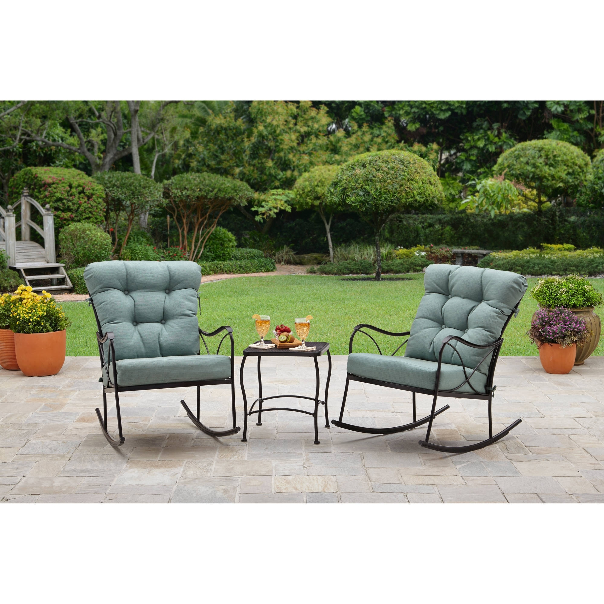 Current Outdoor Rocking Chairs With Table Inside Better Homes And Gardens Seacliff 3 Piece Rocking Chair Bistro Set (View 10 of 20)