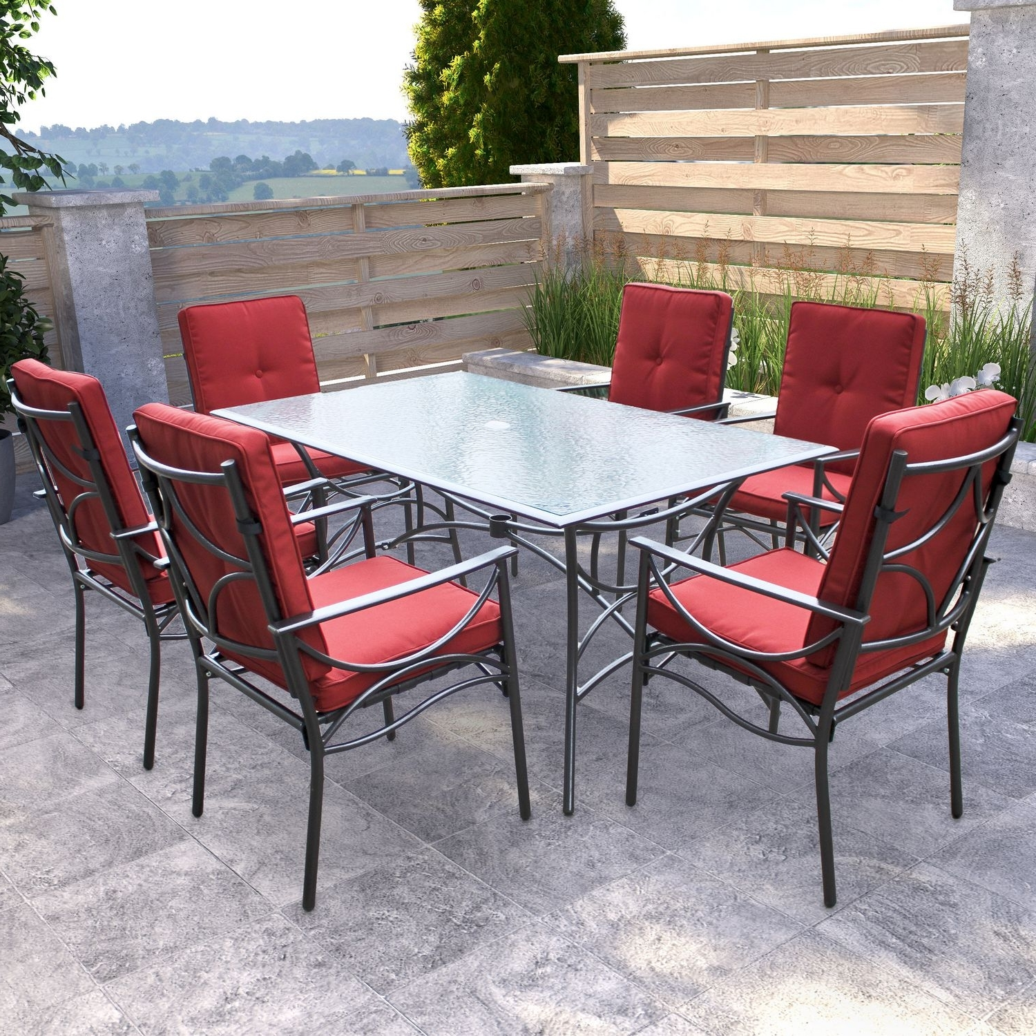 Current Patio Conversation Sets With Dining Table Regarding Furniture: Exciting Outdoor Dining Furniture Sets With Glass Top (View 5 of 20)