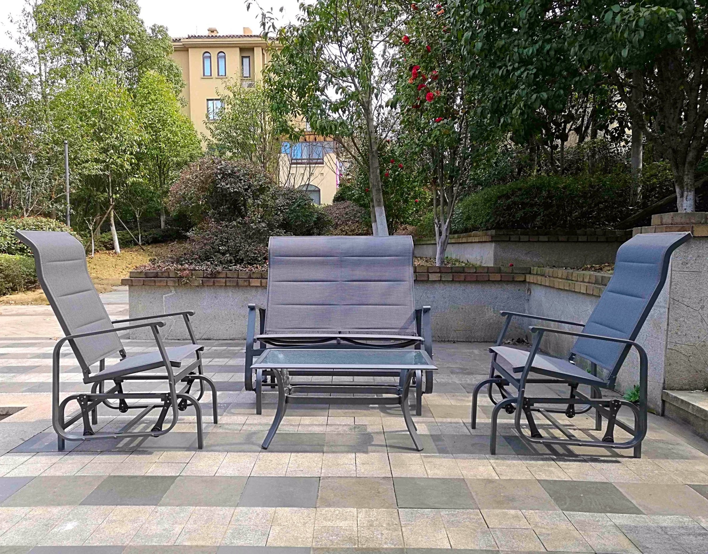 Current Patio Conversation Sets With Glider For Conversation Sets Patio – Lovely 4pc Outdoor Glider Conversation (View 10 of 20)