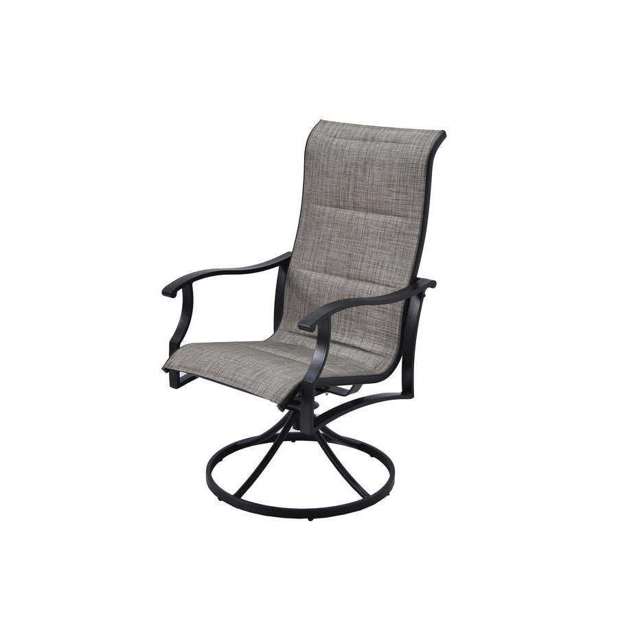 Current Patio Sling Rocking Chairs Inside Garden Treasures Skytop Count Black Steel Swivel Rocker Patio Sling (View 5 of 20)
