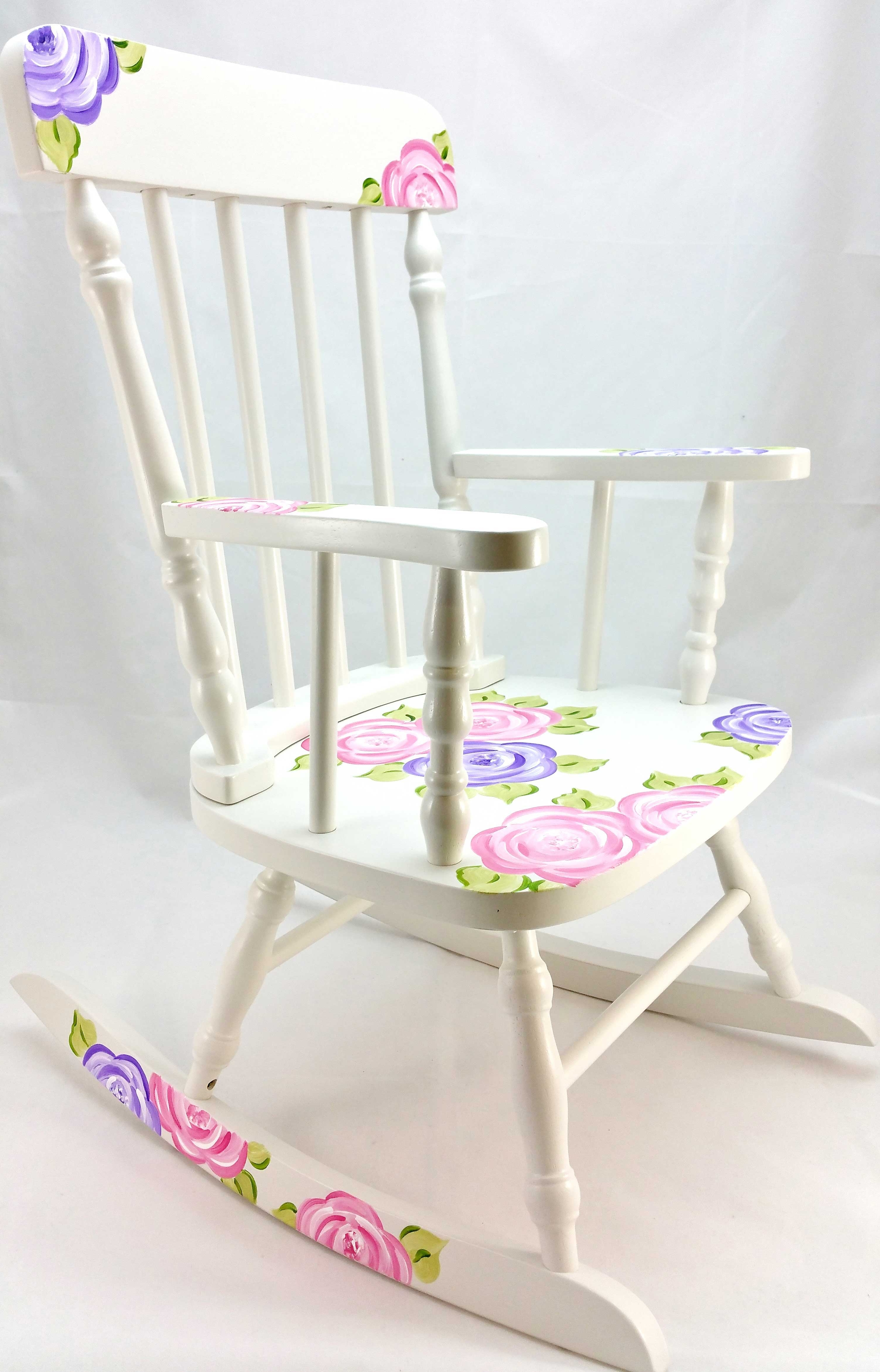 Current Rocking Chairs At Roses Regarding Mod Roses Personalized Rocking Chair – Purple Pumpkin Gifts (View 1 of 20)