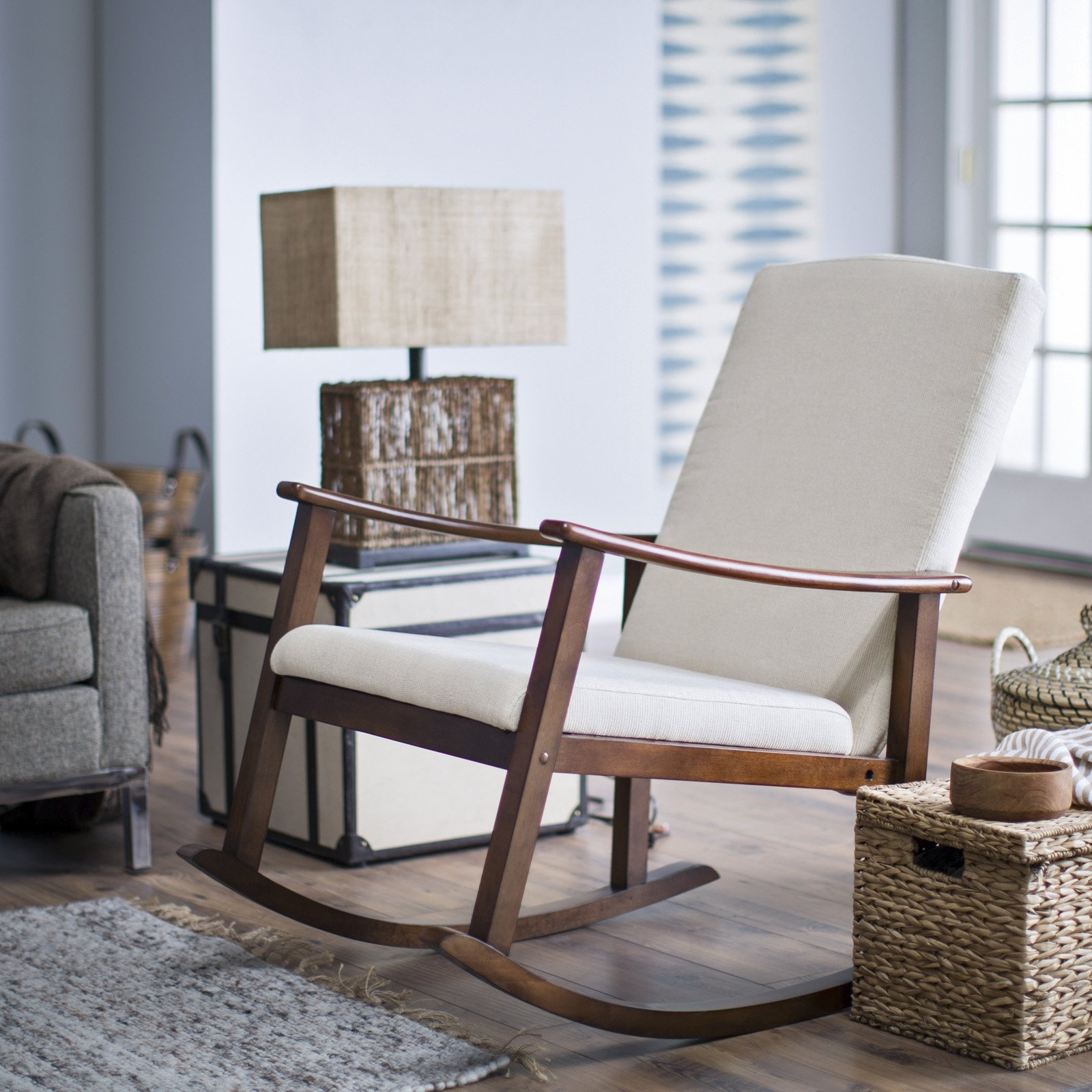 Current Rocking Chairs For Living Room Inside Belham Living Holden Modern Indoor Rocking Chair – Upholstered (View 7 of 20)