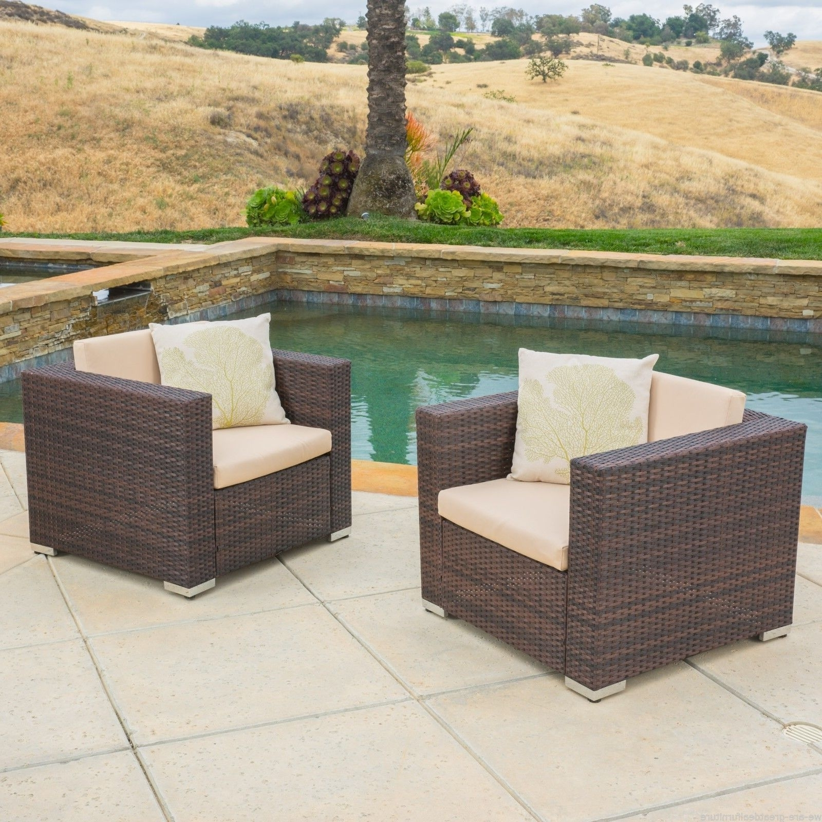 Current Set Of 2 Outdoor Patio Furniture Brown Wicker Sofa Club Chairs (View 18 of 20)