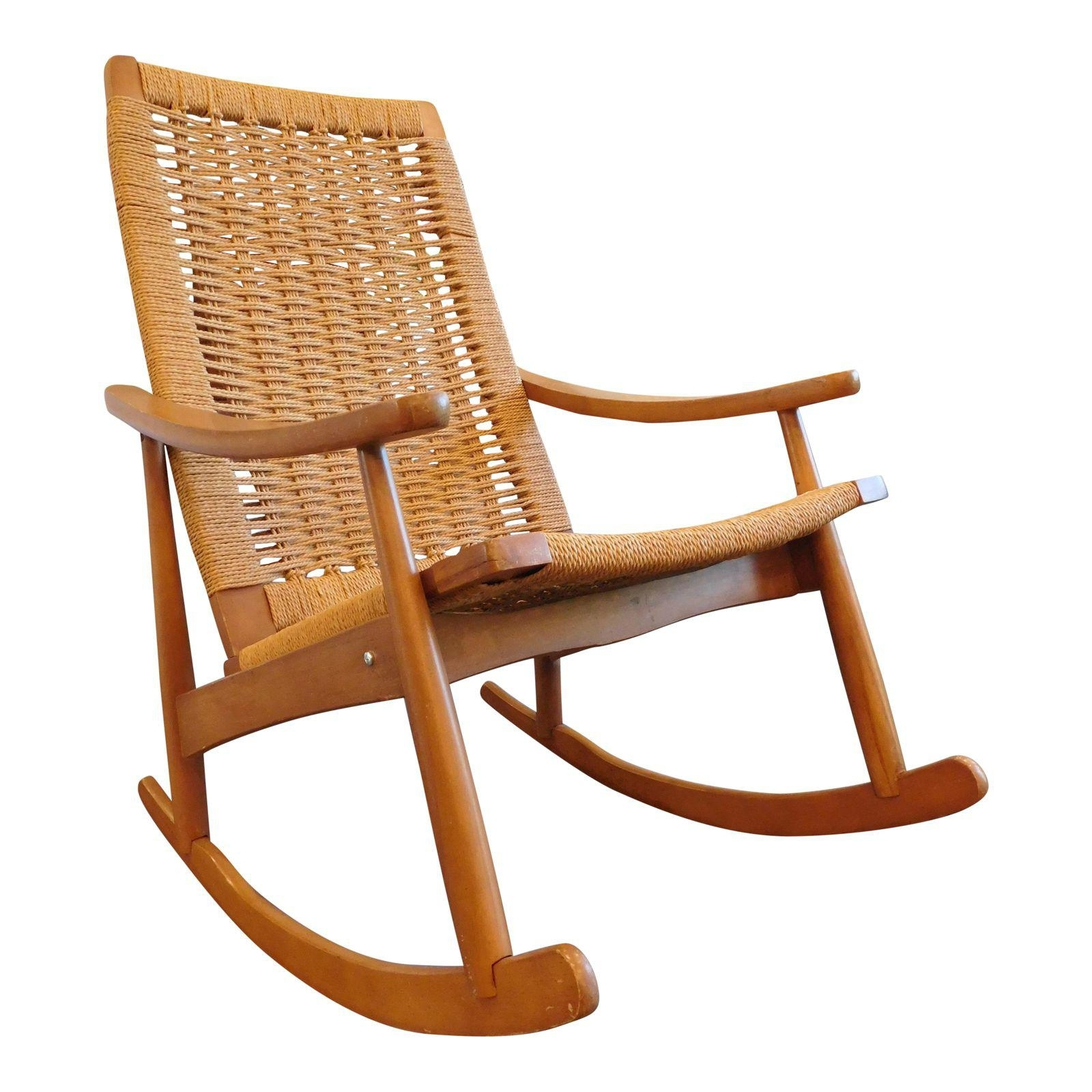 Current Vintage Wicker Rocking Chairs Regarding Vintage Yugoslavian Hans Wegner Style Wicker Rocking Chair Antique (View 14 of 20)