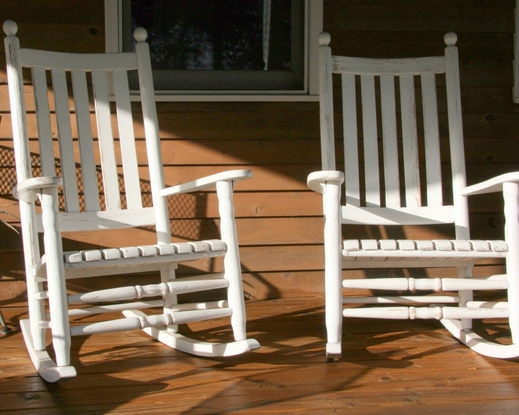 Current White Patio Rocking Chairs Regarding White Front Porch Rocking Chairs — Front Porch Light : Simplest (View 5 of 20)