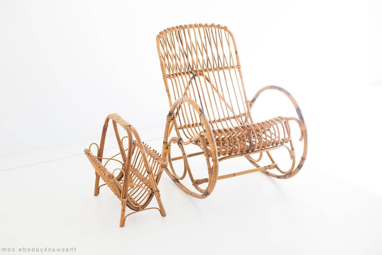 Current Wicker Rocking Chair With Magazine Holder Pertaining To Franco Albini Style Wicker Rocking Chair And Magazine Rack For Sale (View 5 of 20)