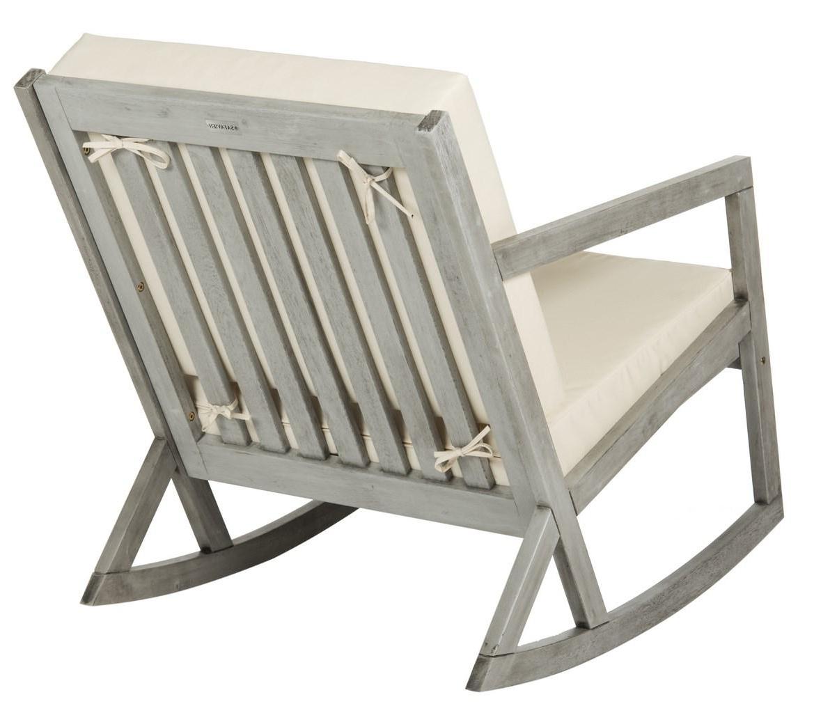 Cushioned Rocking Chair Outdoor Rocker Safavieh Back Gray Save Sams Inside Recent Zen Rocking Chairs (View 3 of 20)