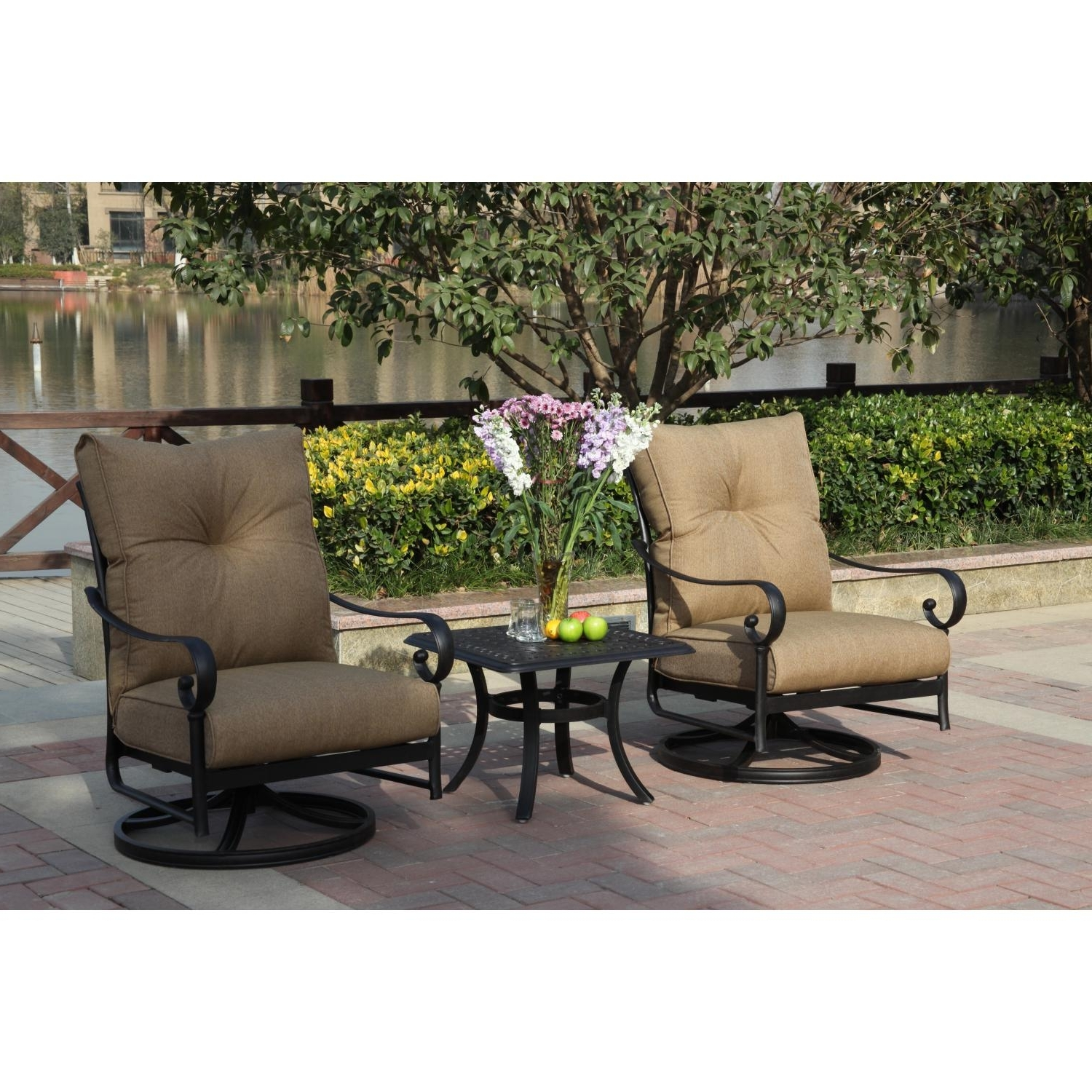 Darlee Santa Anita 3 Piece Aluminum Patio Conversation Seating Set With Regard To Famous Patio Conversation Sets With Swivel Chairs (Gallery 6 of 20)