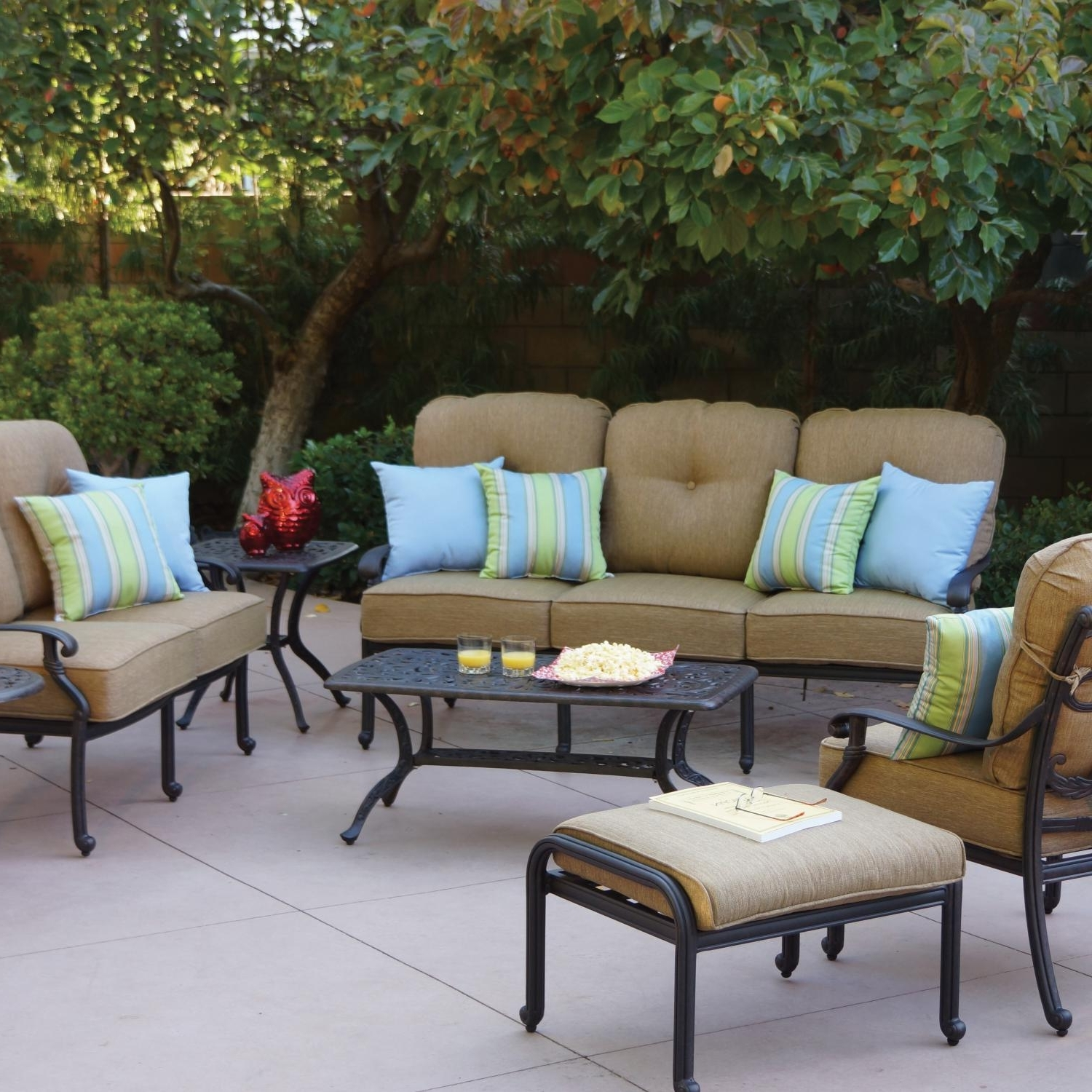 Darlee Santa Monica 7 Piece Cast Aluminum Patio Conversation Seating With Regard To Best And Newest Cast Aluminum Patio Conversation Sets (View 8 of 20)