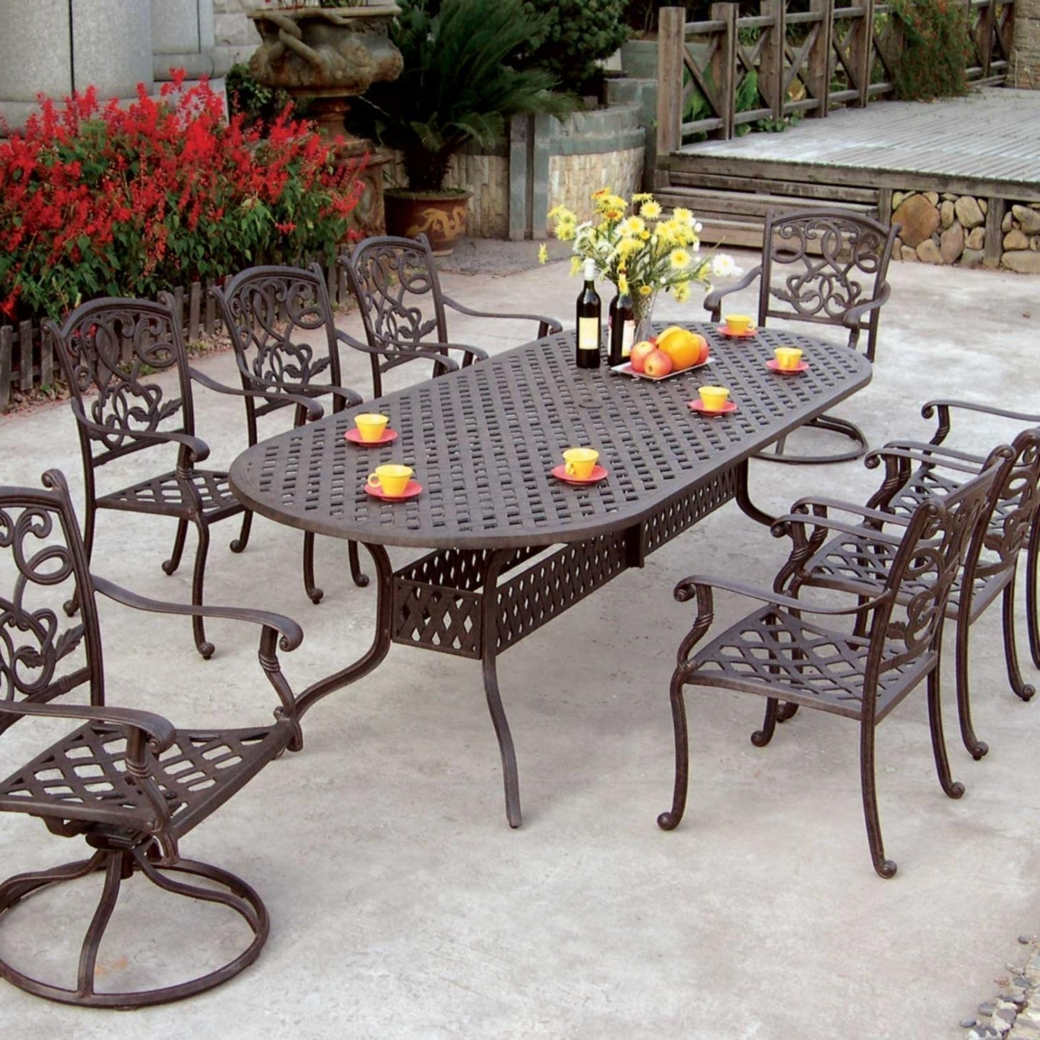 Darlee Santa Monica 9 Piece Cast Aluminum Patio Dining Set With Oval For Well Liked Black Aluminum Patio Conversation Sets (View 8 of 20)