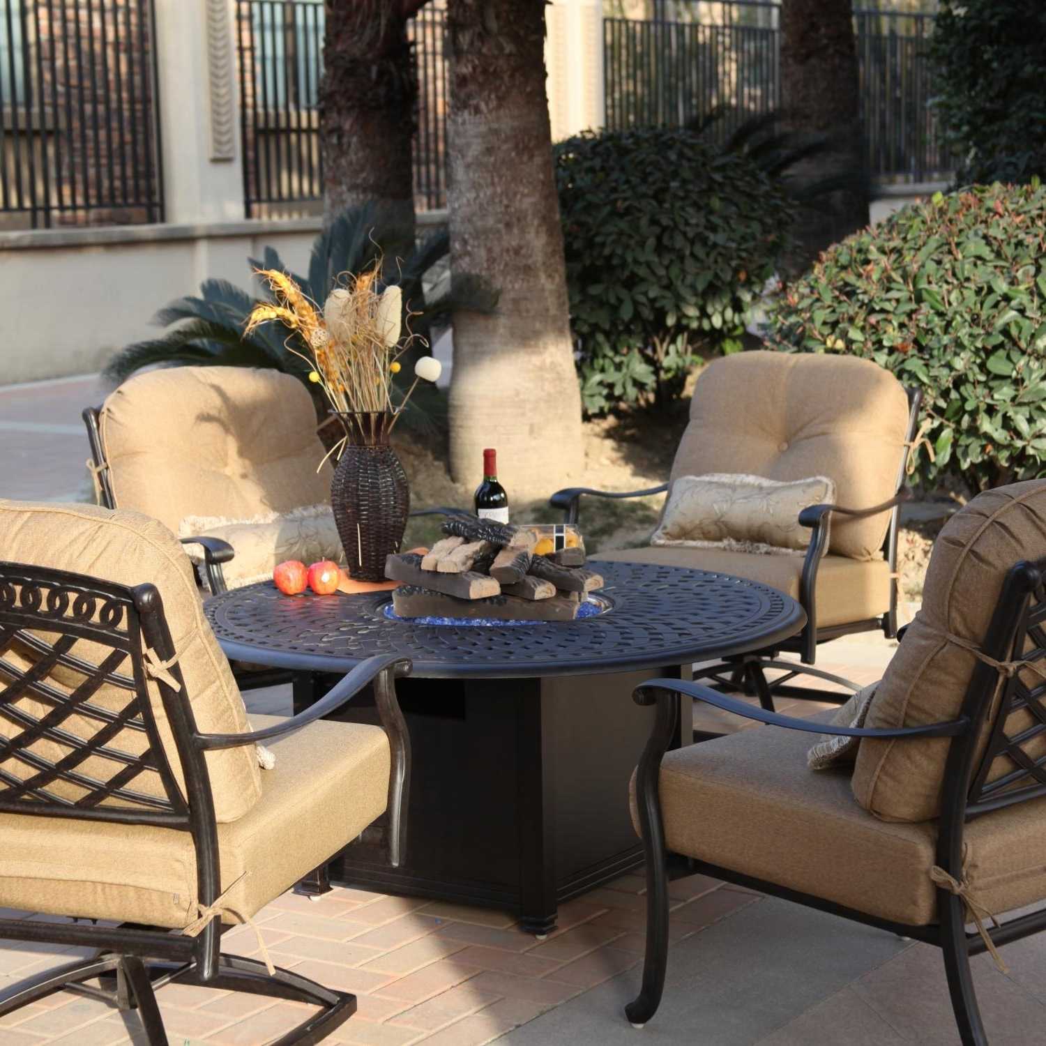 Darlee Sedona 5 Piece Aluminum Patio Fire Pit Seating Set For Most Recent Patio Furniture Conversation Sets With Fire Pit (Gallery 11 of 20)