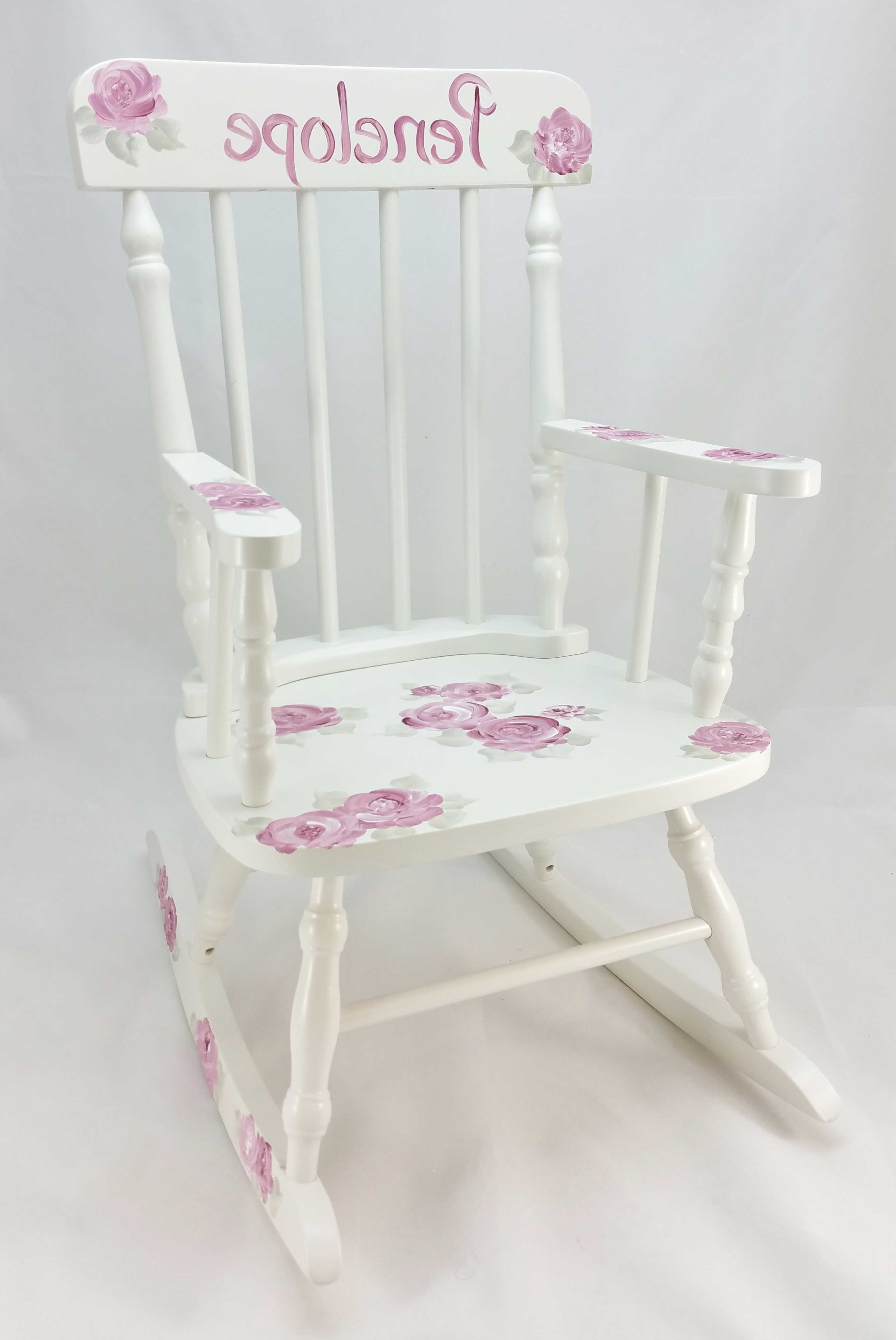 Deep Pink Roses Personalized Rocking Chair – Purple Pumpkin Gifts Intended For Widely Used Rocking Chairs At Roses (Gallery 4 of 20)