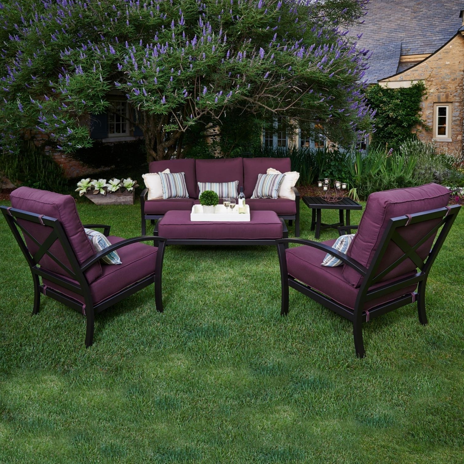 Deep Seating Patio Conversation Sets For Newest Meadowcraft Maddux Wrought Iron 5 Piece Deep Seating Patio (Gallery 5 of 20)