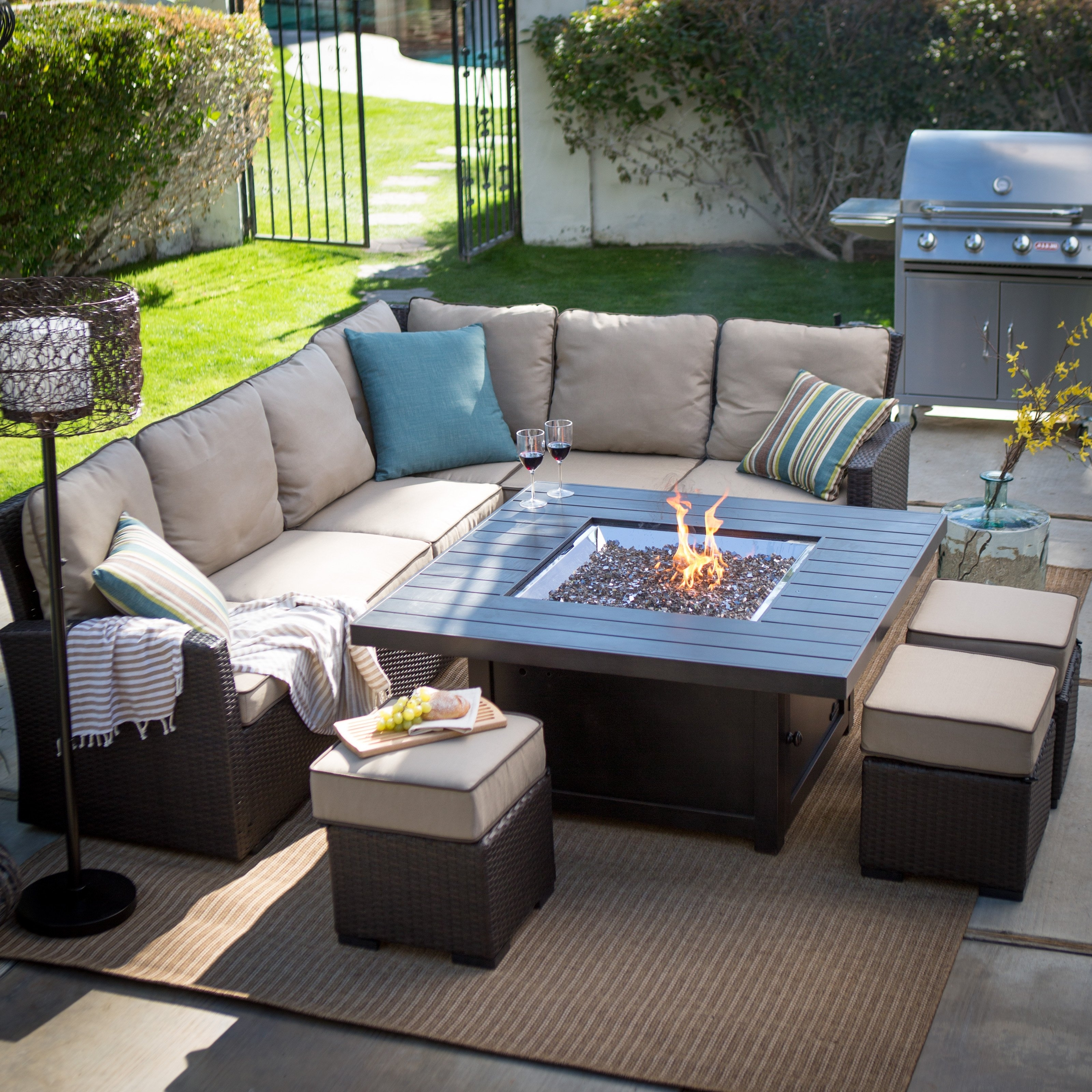 Dining Table With Fire Pit In Middle Verona Height Propane Patio For Recent Patio Conversation Dining Sets (View 5 of 20)