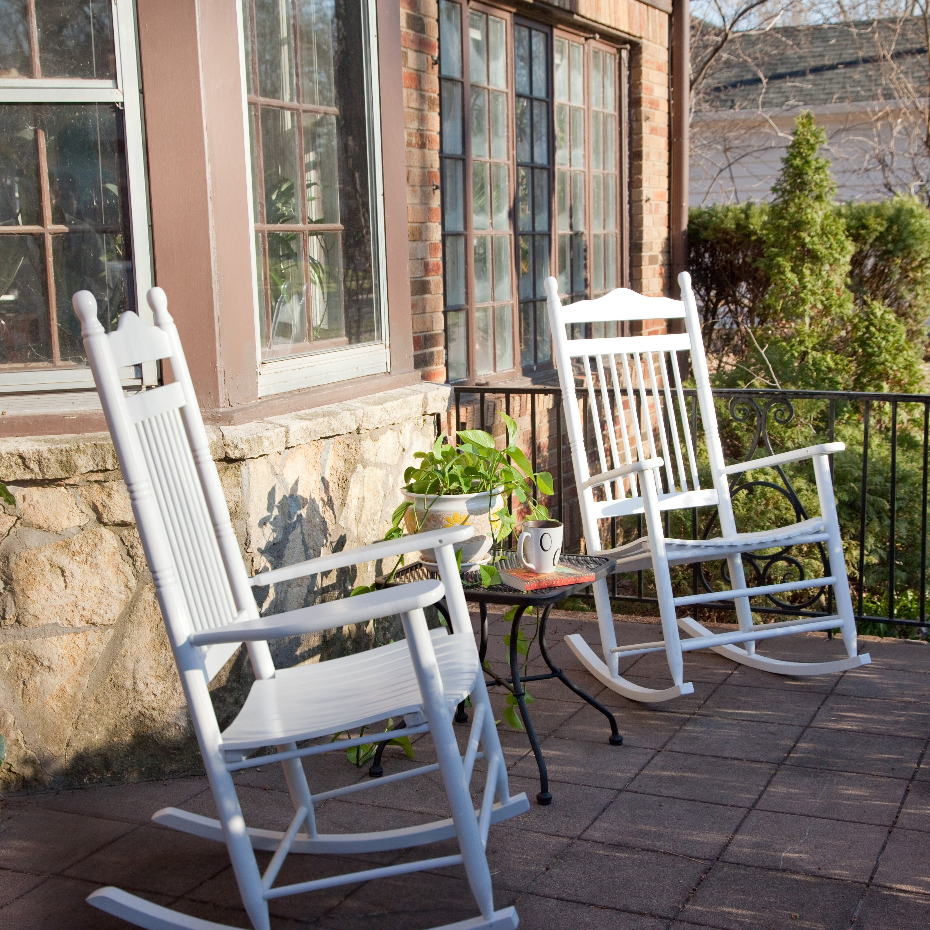 Dixie Seating Indoor/outdoor Spindle Rocking Chairs – White – Set Of Throughout Most Recent Rocking Chairs At Walmart (Gallery 6 of 20)