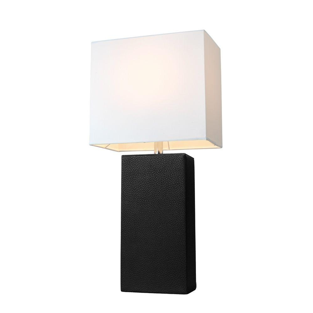 Elegant Designs Monaco Avenue 21 In. Modern Black Leather Table Lamp Inside Most Recently Released Table Lamps For Modern Living Room (Gallery 18 of 20)