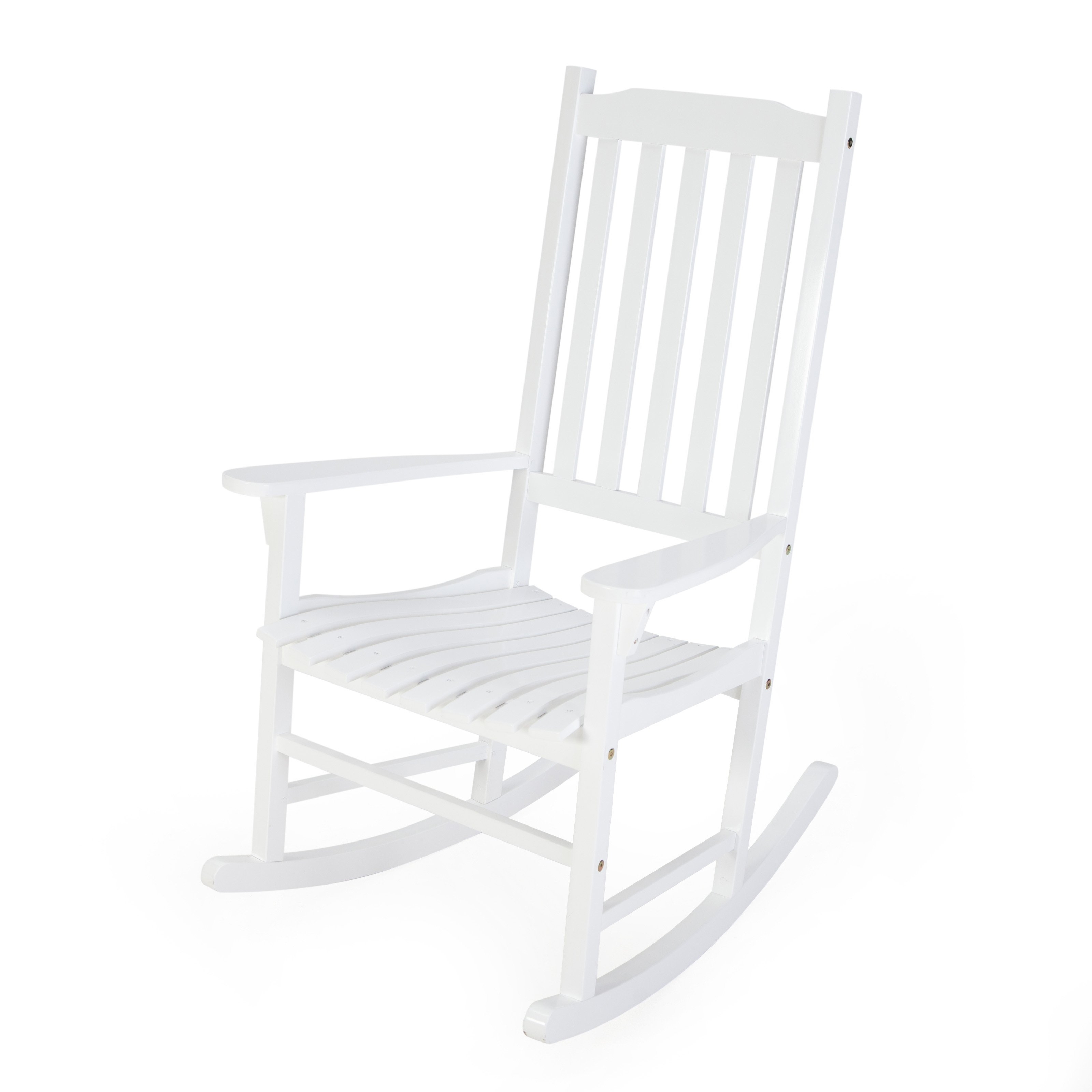 Famous Coral Coast Indoor/outdoor Mission Slat Rocking Chair – White In Rocking Chairs For Adults (View 15 of 20)
