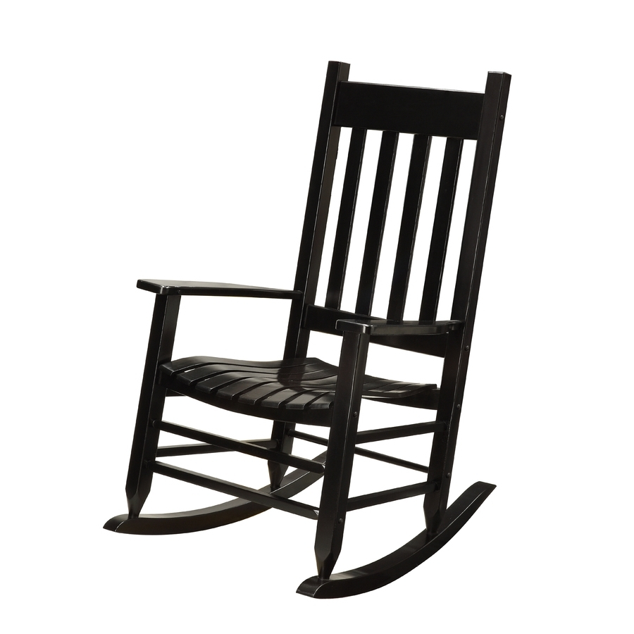 Famous Lowes Rocking Chairs Pertaining To Shop Garden Treasures Black Wood Slat Seat Outdoor Rocking Chair At (View 3 of 20)