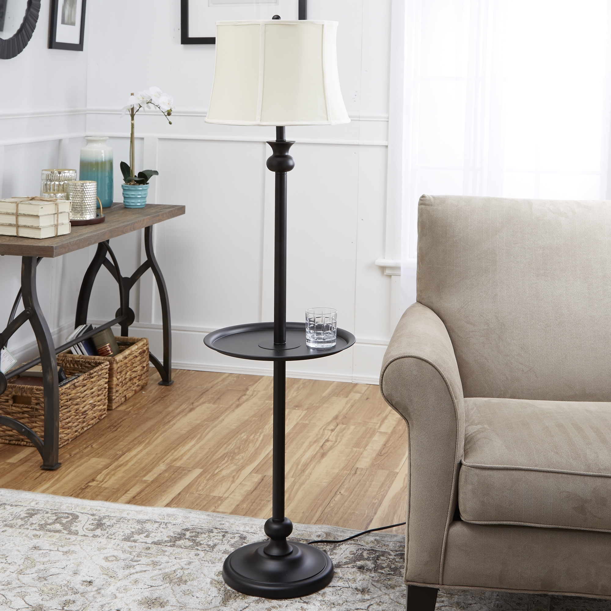 "Famous Mainstays 71"" Floor Lamp, Silver – Walmart Inside Black Living Room Table Lamps (View 10 of 20)"