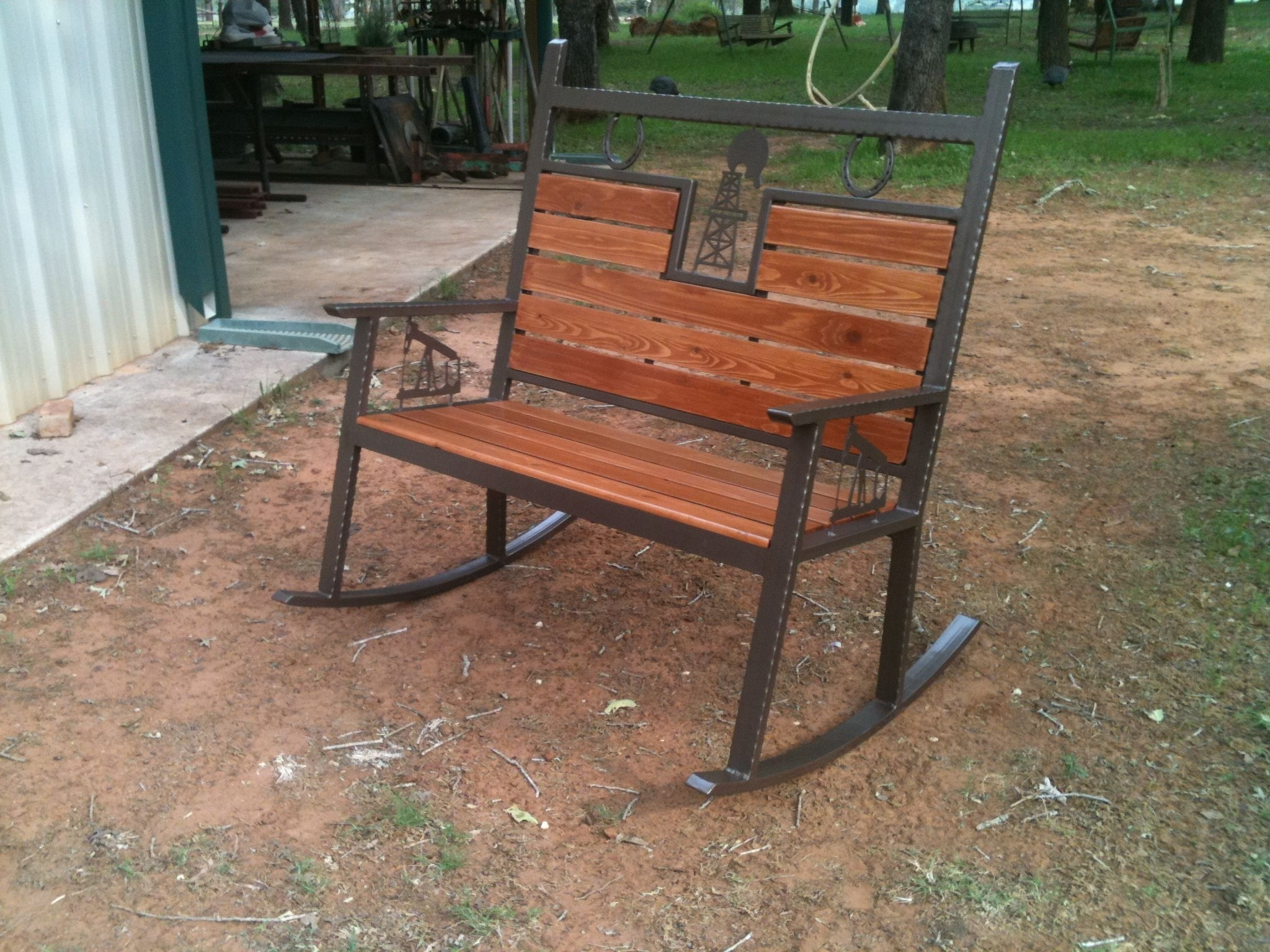 Famous Rocking Bench Made With A Cnc Burntables #bench #chair #patio #porch For Patio Furniture Rocking Benches (View 3 of 20)
