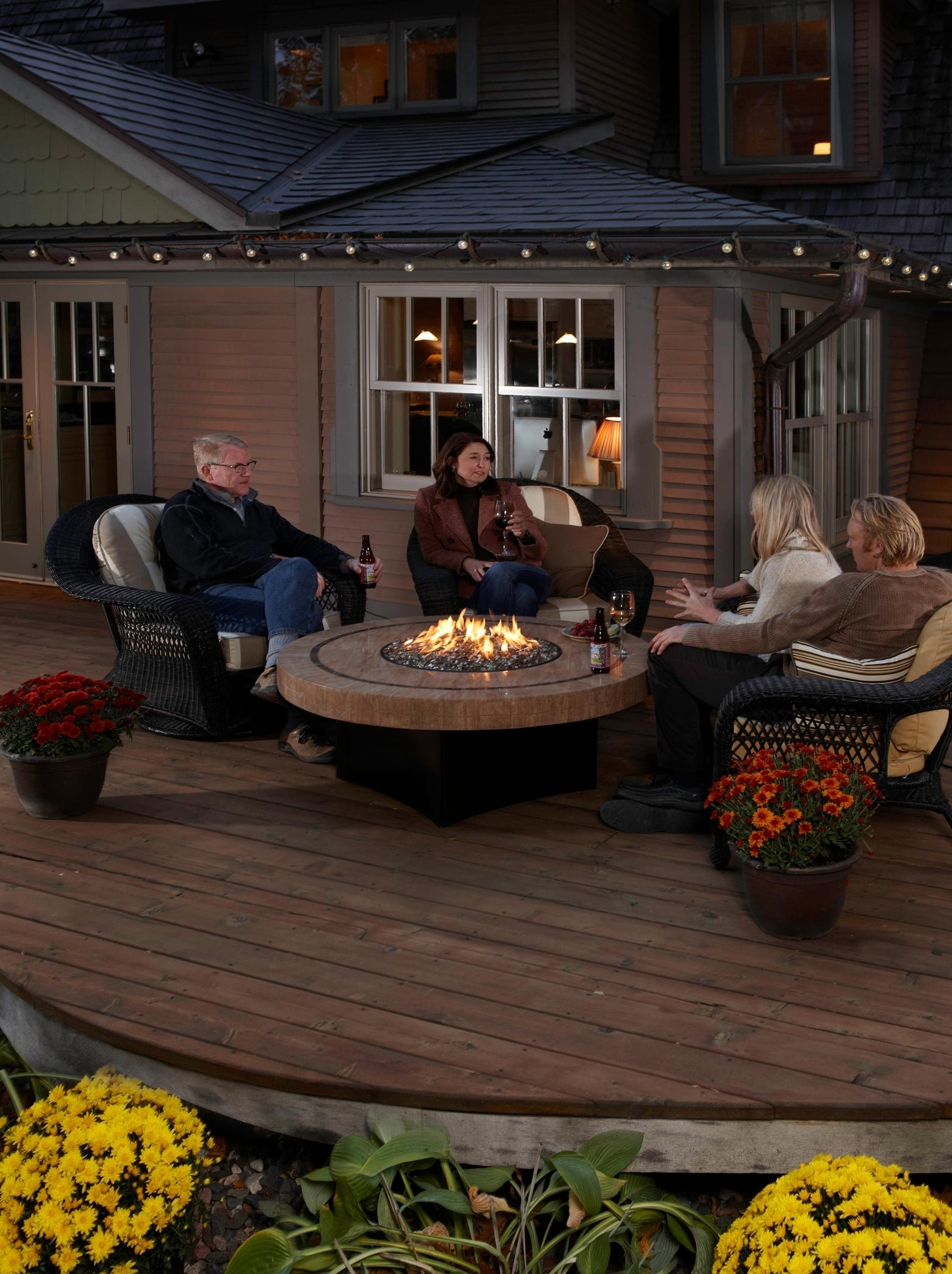 Famous Round Patio Conversation Sets For Ravishing Patio Furniture Round Propane Fire Pit Table Beige Stone (View 5 of 20)