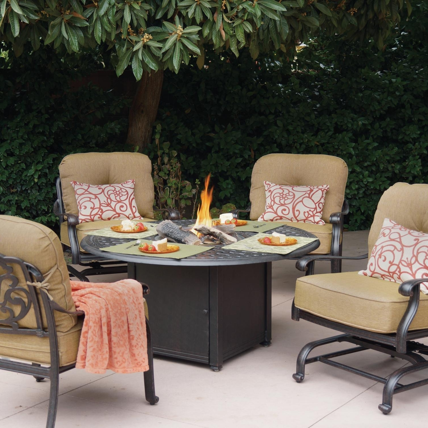 Famous Round Patio Conversation Sets Inside Darlee Elisabeth 5 Piece Cast Aluminum Patio Fire Pit Conversation (View 5 of 20)