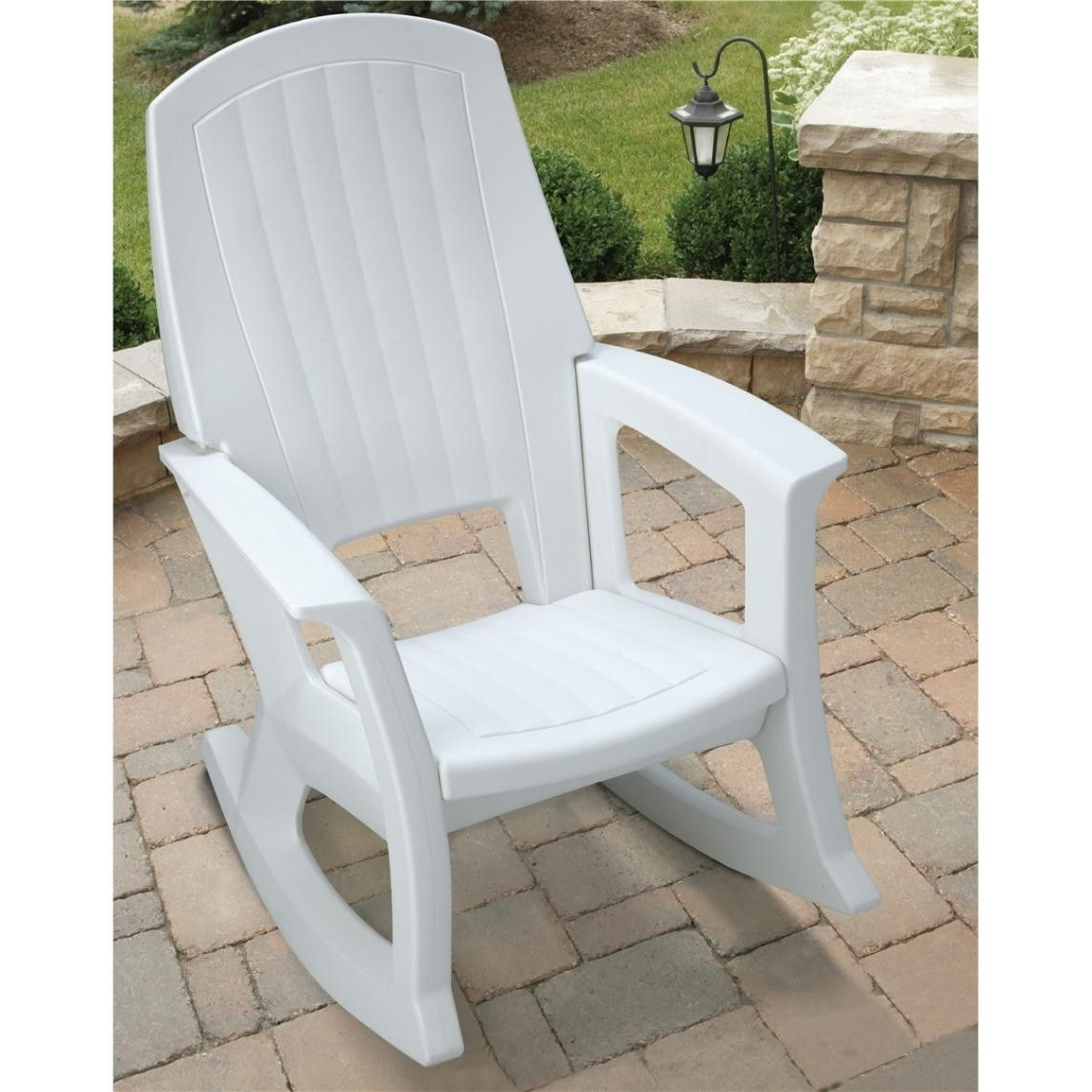 Famous Small Patio Rocking Chairs Within Semco Plastics White Resin Outdoor Patio Rocking Chair Semw : Rural (View 4 of 20)