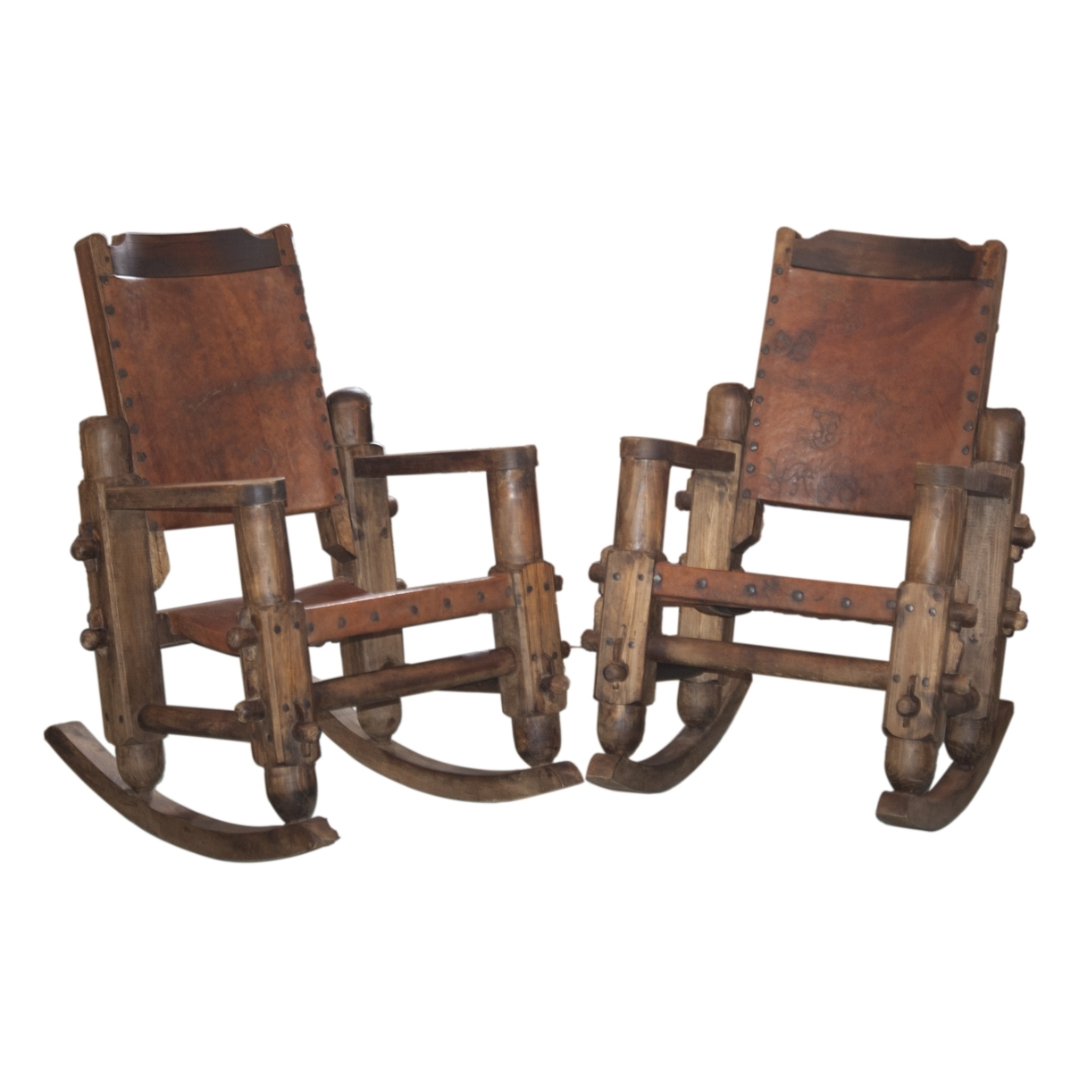 Famous Vintage Outdoor Rocking Chairs Intended For Lot #260: Vintage Mexican Wooden & Leather Rocking Chairs (View 11 of 20)