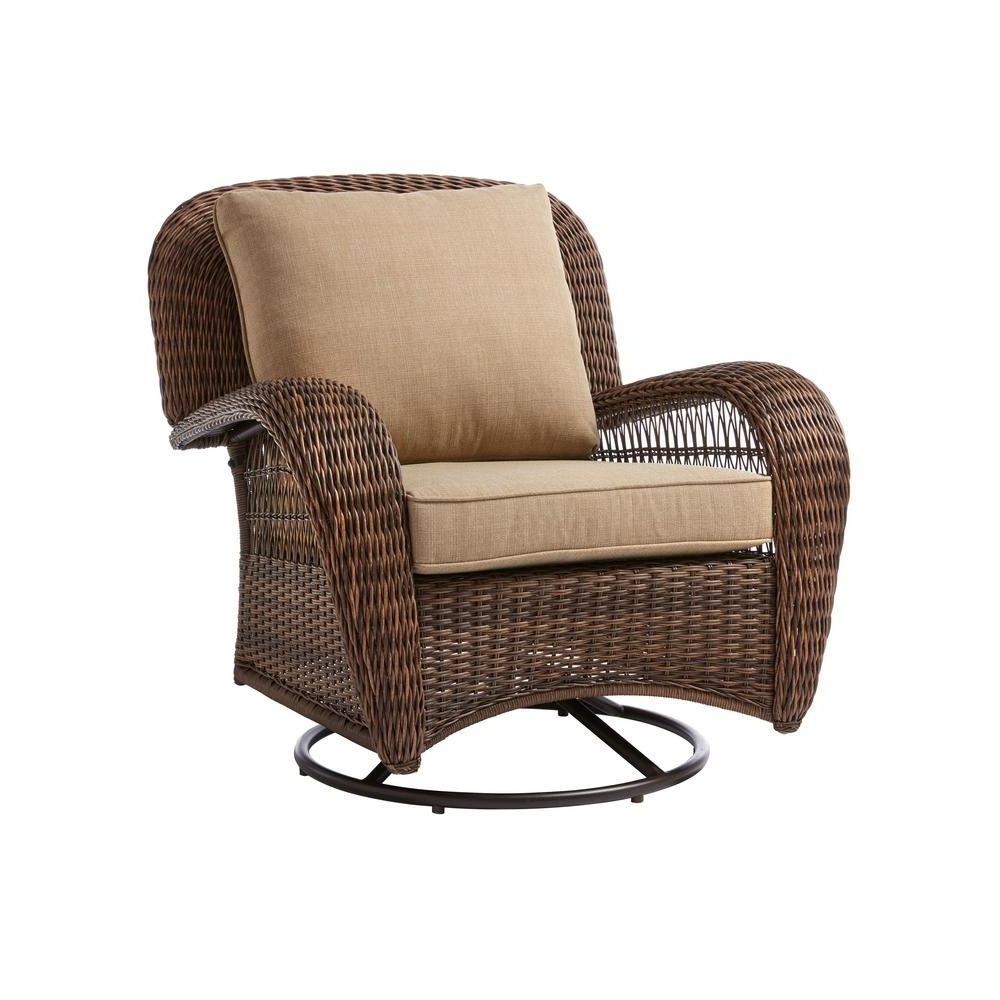 Famous Wicker Rocking Chairs And Ottoman Pertaining To Hampton Bay Beacon Park Wicker Outdoor Swivel Lounge Chair With (View 6 of 20)