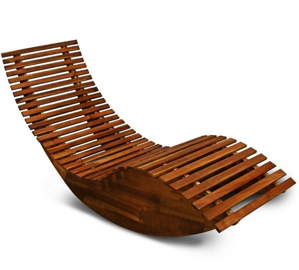 Famous Wooden Garden Sun Bed Patio Lounger Recliner Rocking Chair Outdoor For Rocking Chairs For Garden (View 3 of 20)