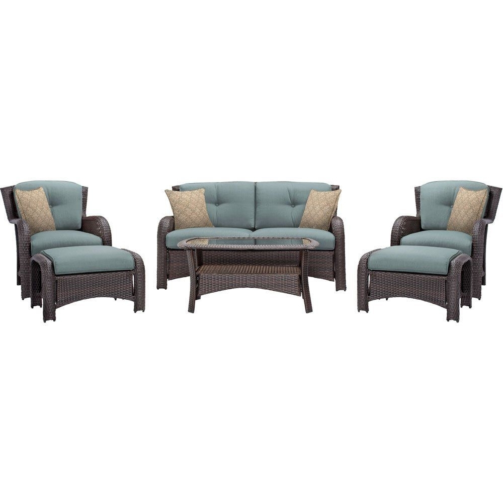 Fashionable Blue Patio Conversation Sets For Amazon : Hanover Outdoor Strathmere 6 Piece Lounge Set, Ocean (View 5 of 20)