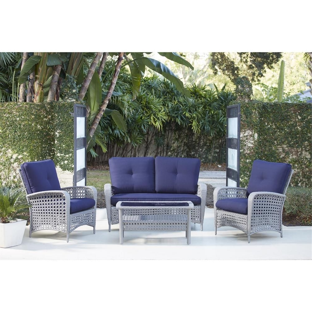 Fashionable Blue Patio Conversation Sets In Cosco Lakewood Ranch 4 Piece Gray Resin Wicker Patio Conversation (View 11 of 20)